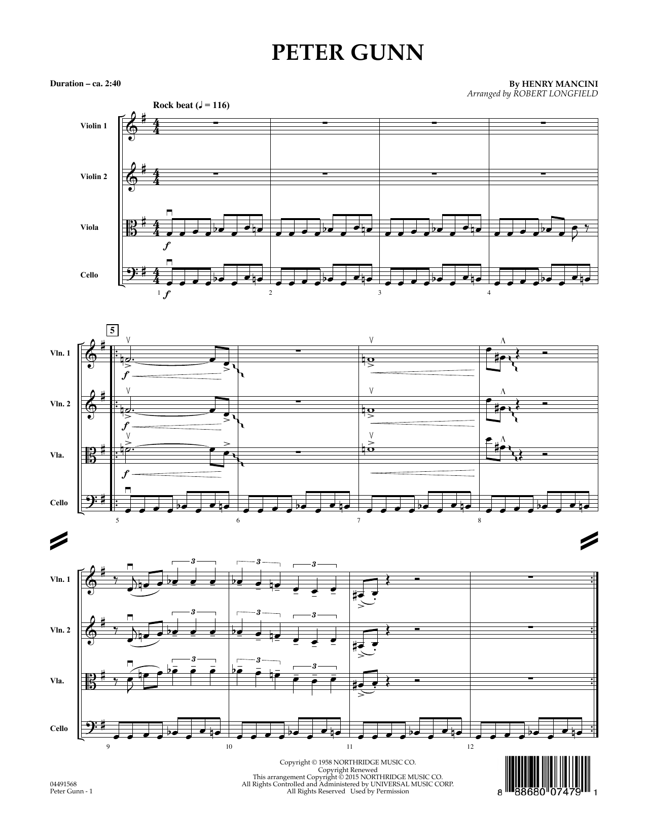 Peter Gunn, complete collection (COMPLETE) sheet music for orchestra by Henry Mancini and Robert Longfield. Score Image Preview.