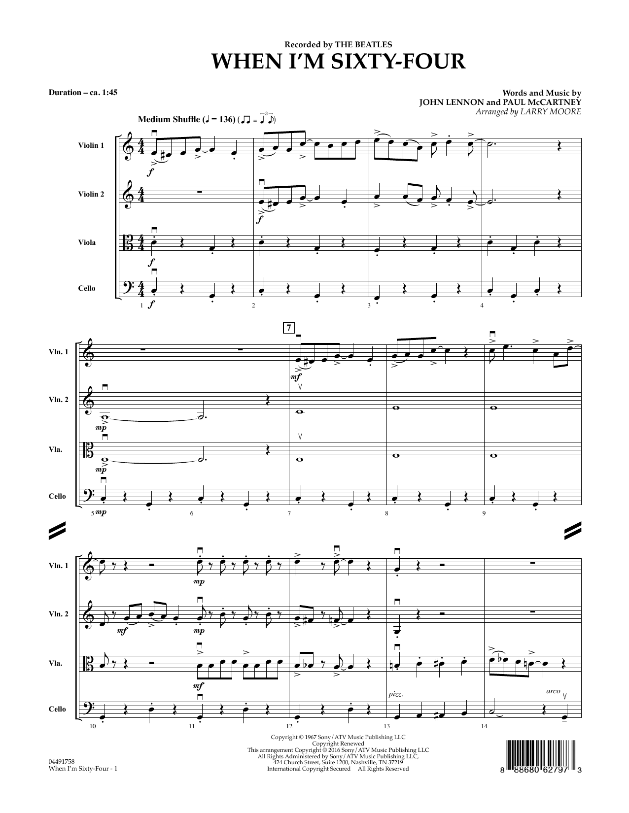 When I'm Sixty-Four - Conductor Score (Full Score) (String Quartet)