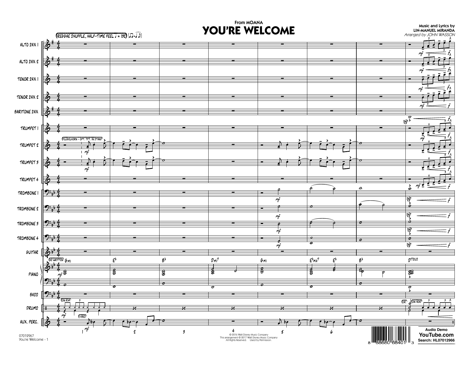 You're Welcome (from Moana) (COMPLETE) sheet music for jazz band by John Wasson and Lin-Manuel Miranda. Score Image Preview.