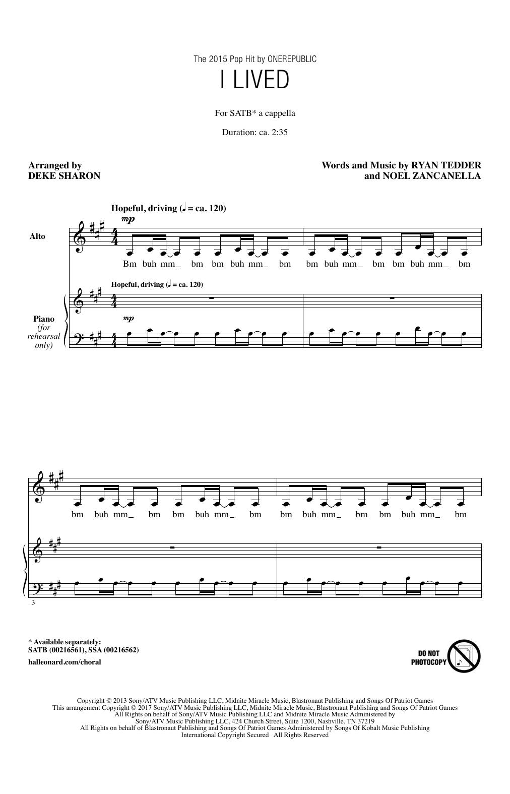 I Lived (SATB Choir)