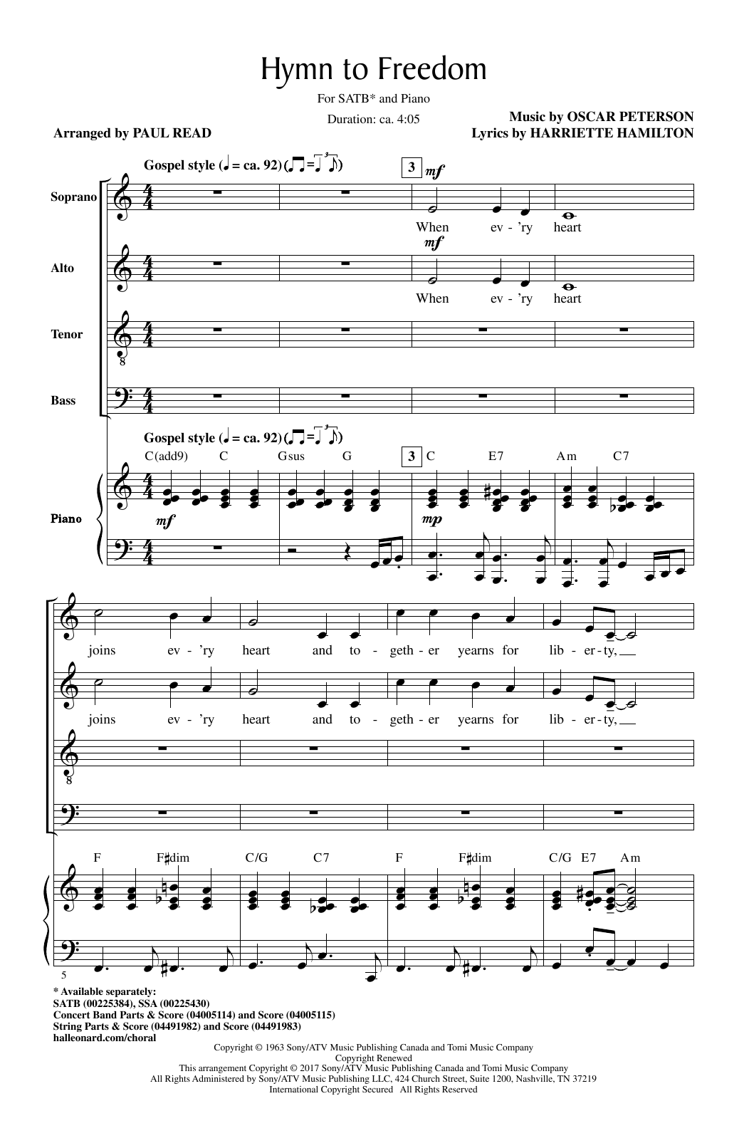 Hymn To Freedom (arr. Paul Read) (SATB Choir)
