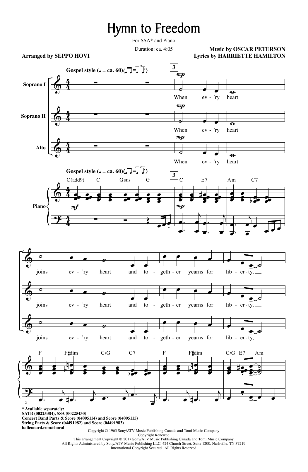 Hymn To Freedom Sheet Music To Download
