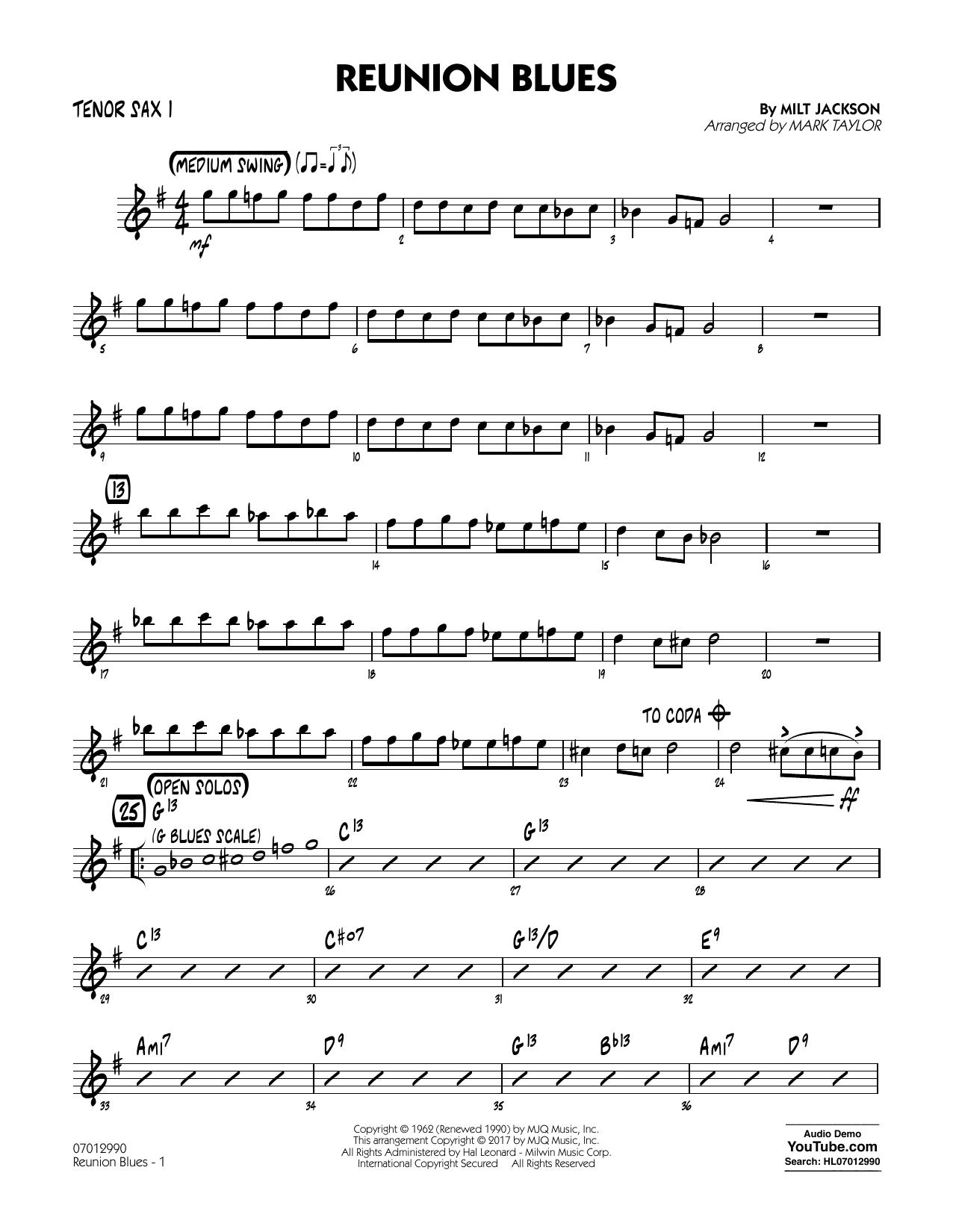 Reunion Blues Dl - Tenor Sax 1 (Jazz Ensemble)