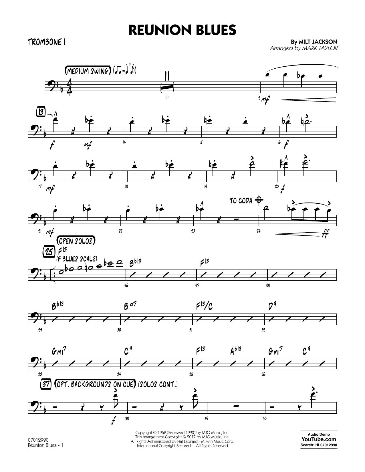 Reunion Blues Dl - Trombone 1 (Jazz Ensemble)