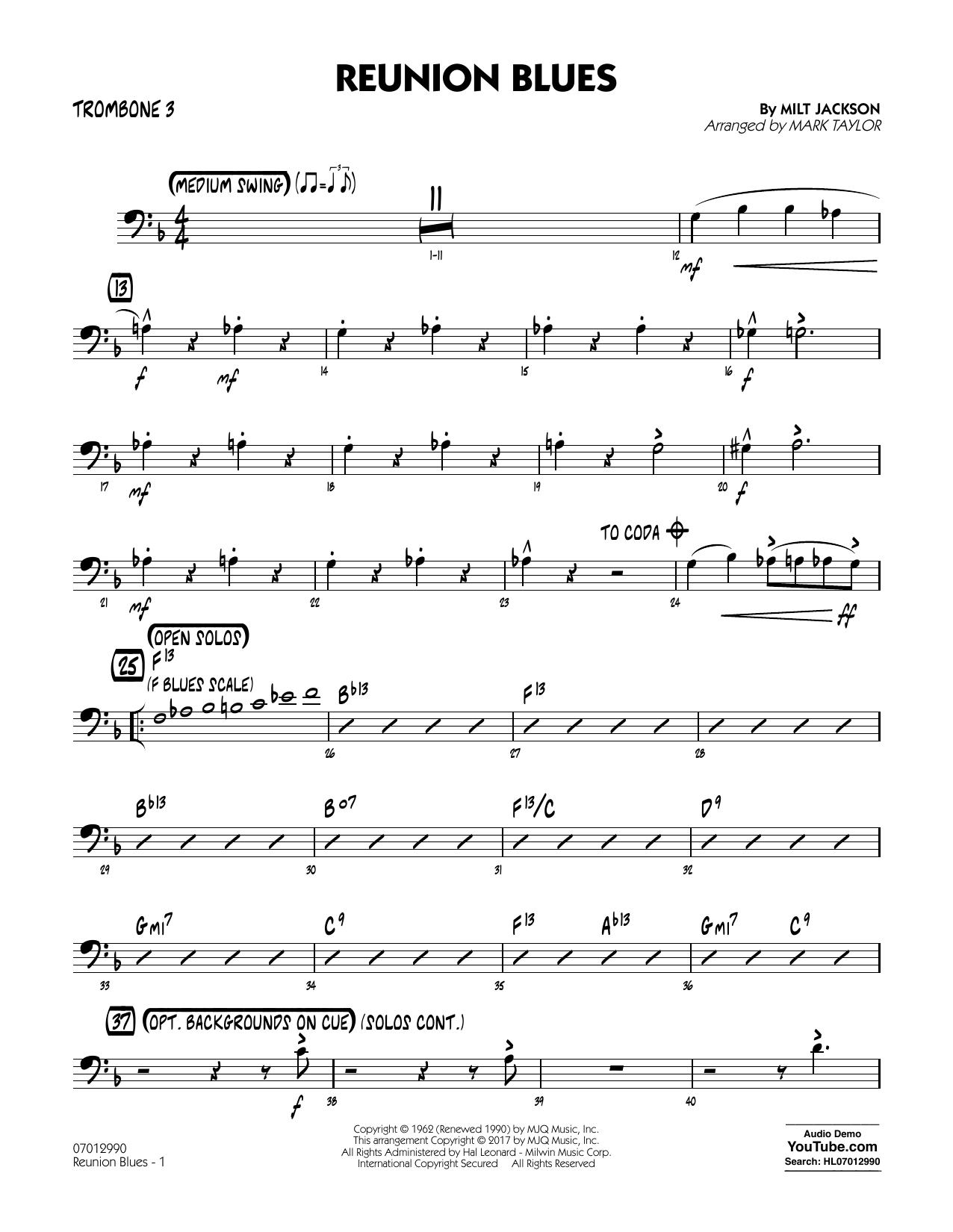 Reunion Blues Dl - Trombone 3 (Jazz Ensemble)