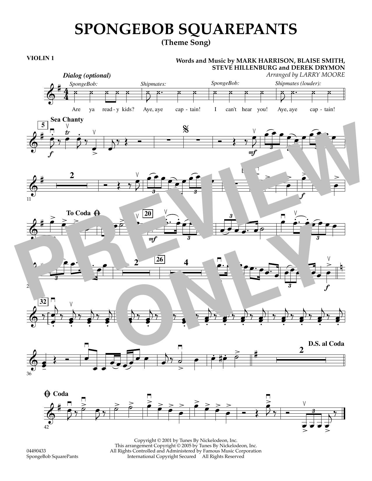 SpongeBob SquarePants (Theme Song) - Violin 1 by Larry Moore Orchestra  Digital Sheet Music