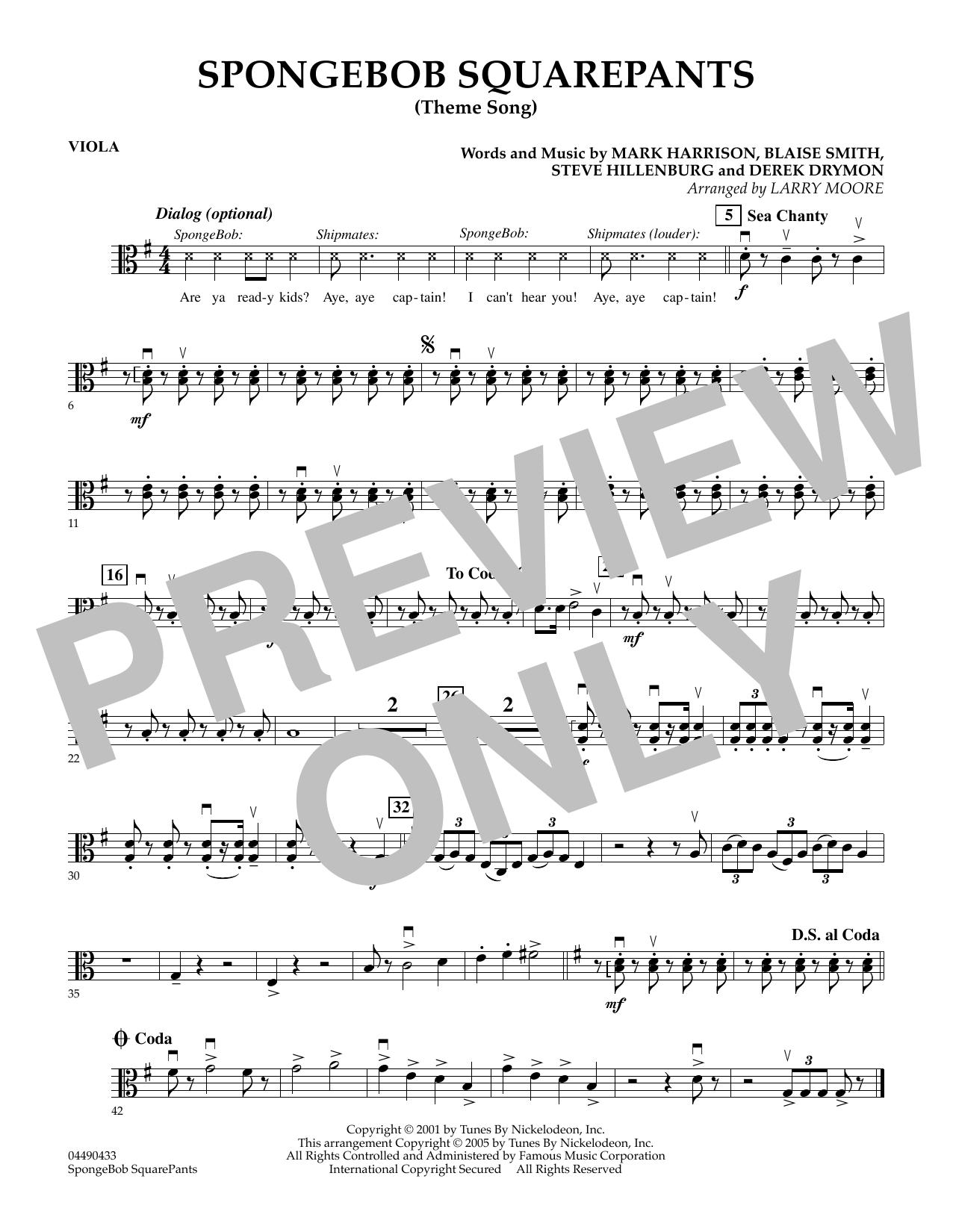 SpongeBob SquarePants (Theme Song) - Viola by Larry Moore Orchestra Digital  Sheet Music