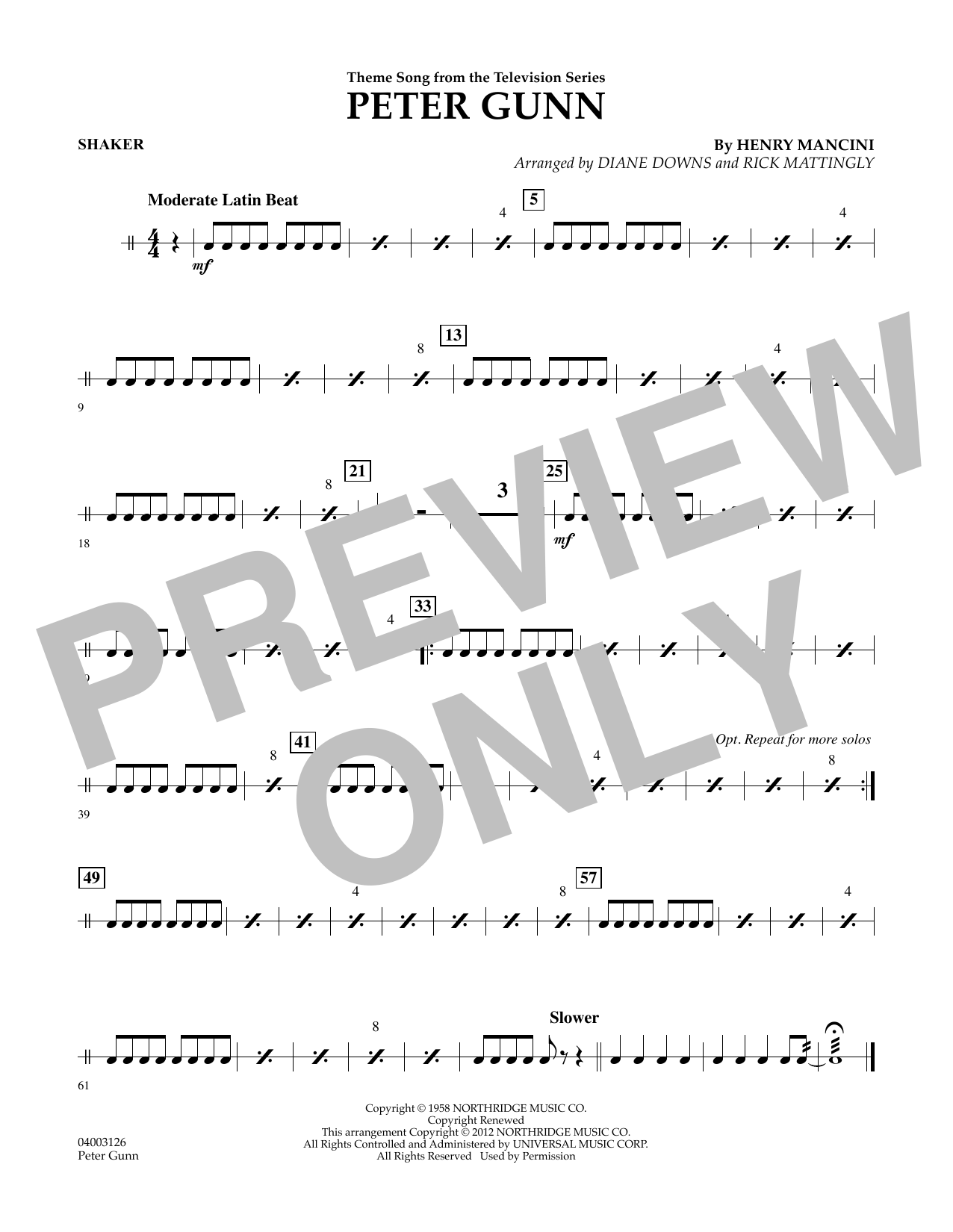 Peter Gunn - Shaker (Concert Band)