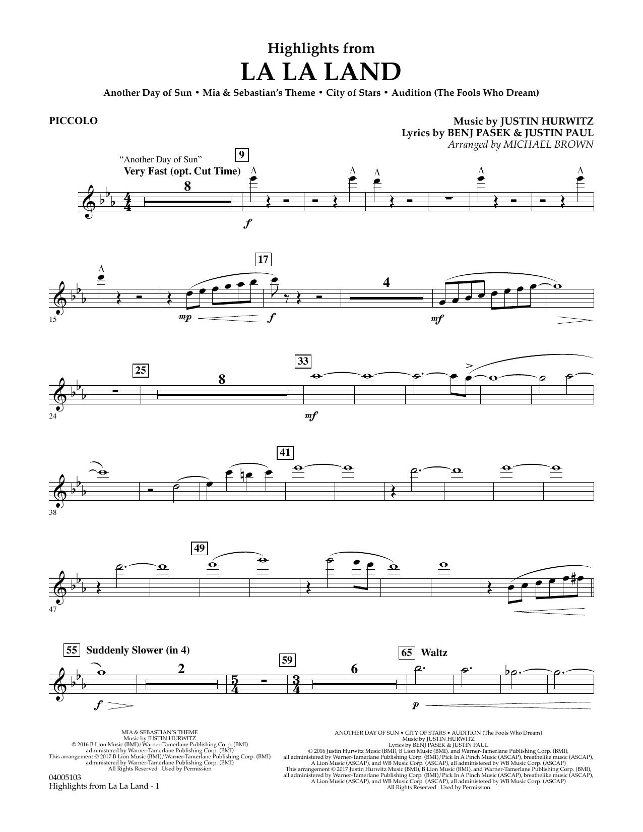 Highlights from La La Land - Piccolo (Concert Band)