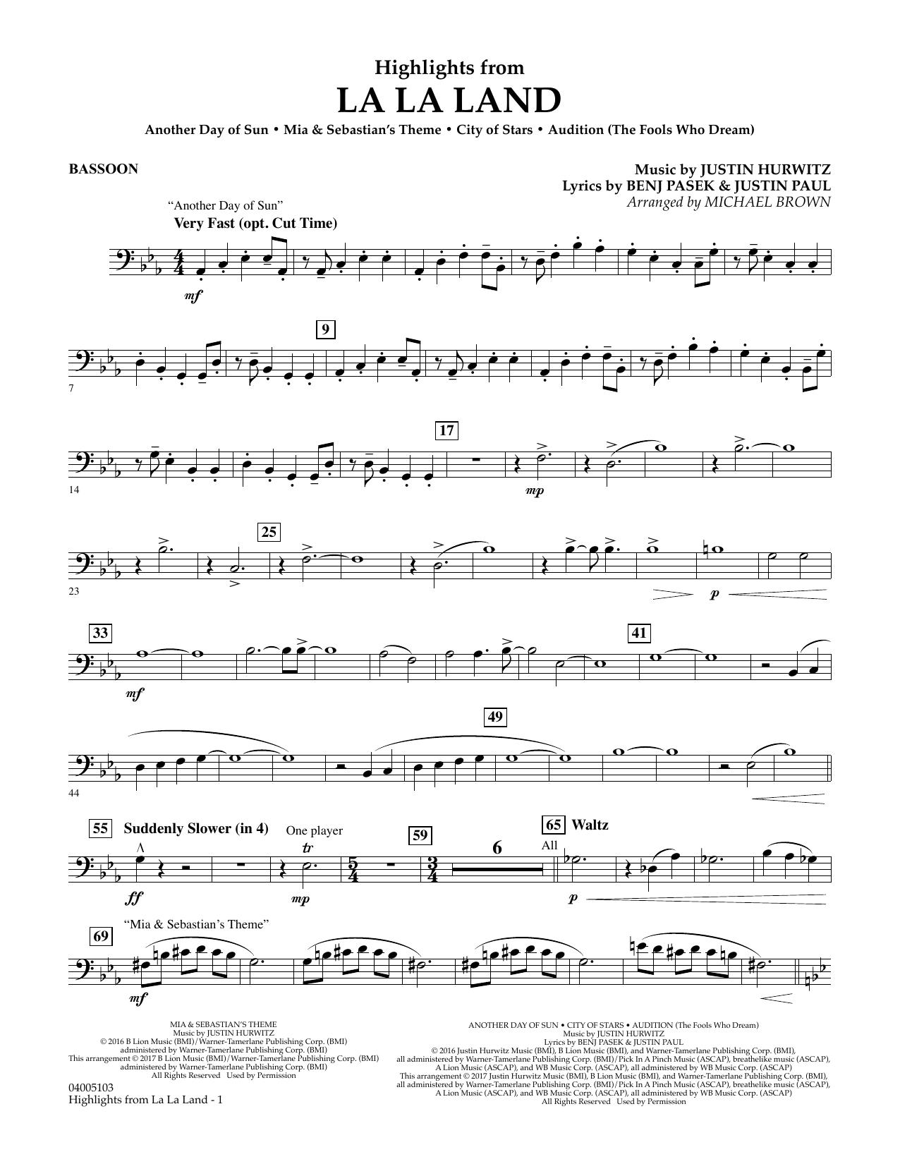 Highlights from La La Land - Bassoon (Concert Band)