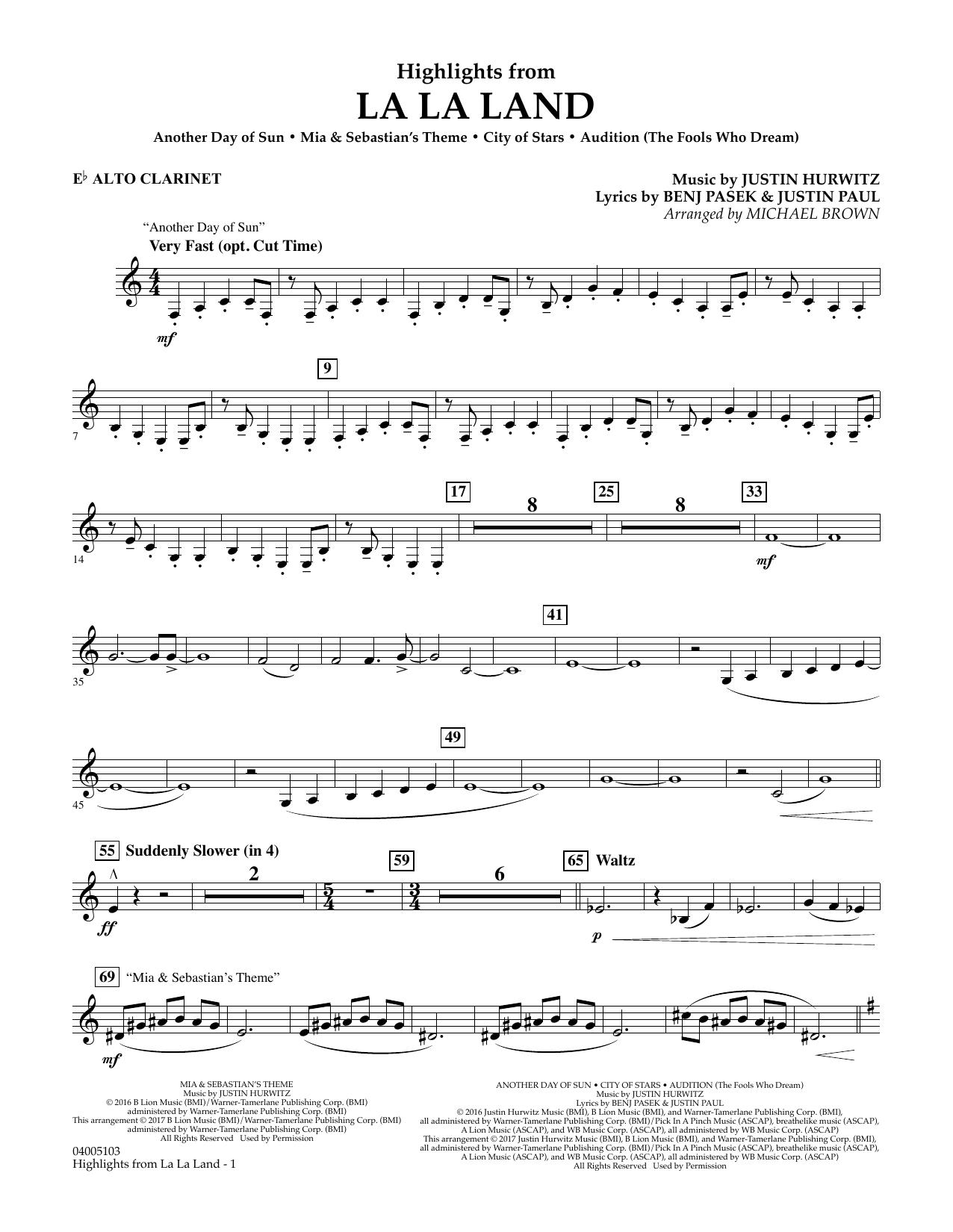 Highlights from La La Land - Eb Alto Clarinet (Concert Band)