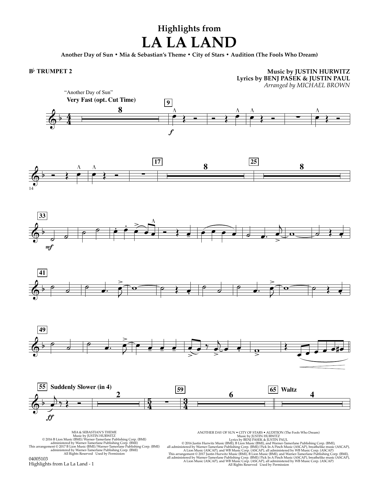 Highlights from La La Land - Bb Trumpet 2 (Concert Band)