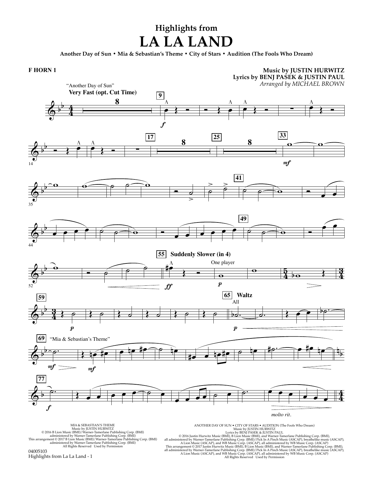 Highlights from La La Land - F Horn 1 (Concert Band)