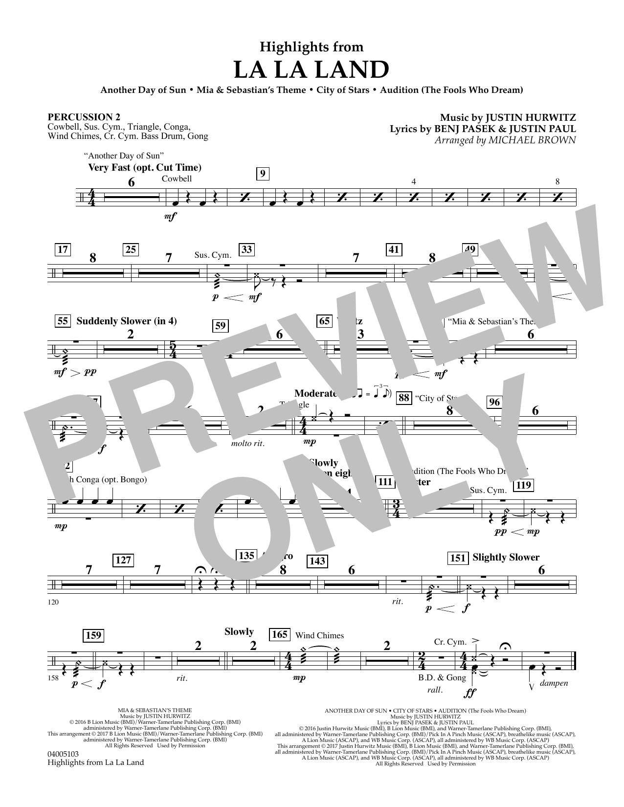Highlights from La La Land - Percussion 2 (Concert Band)