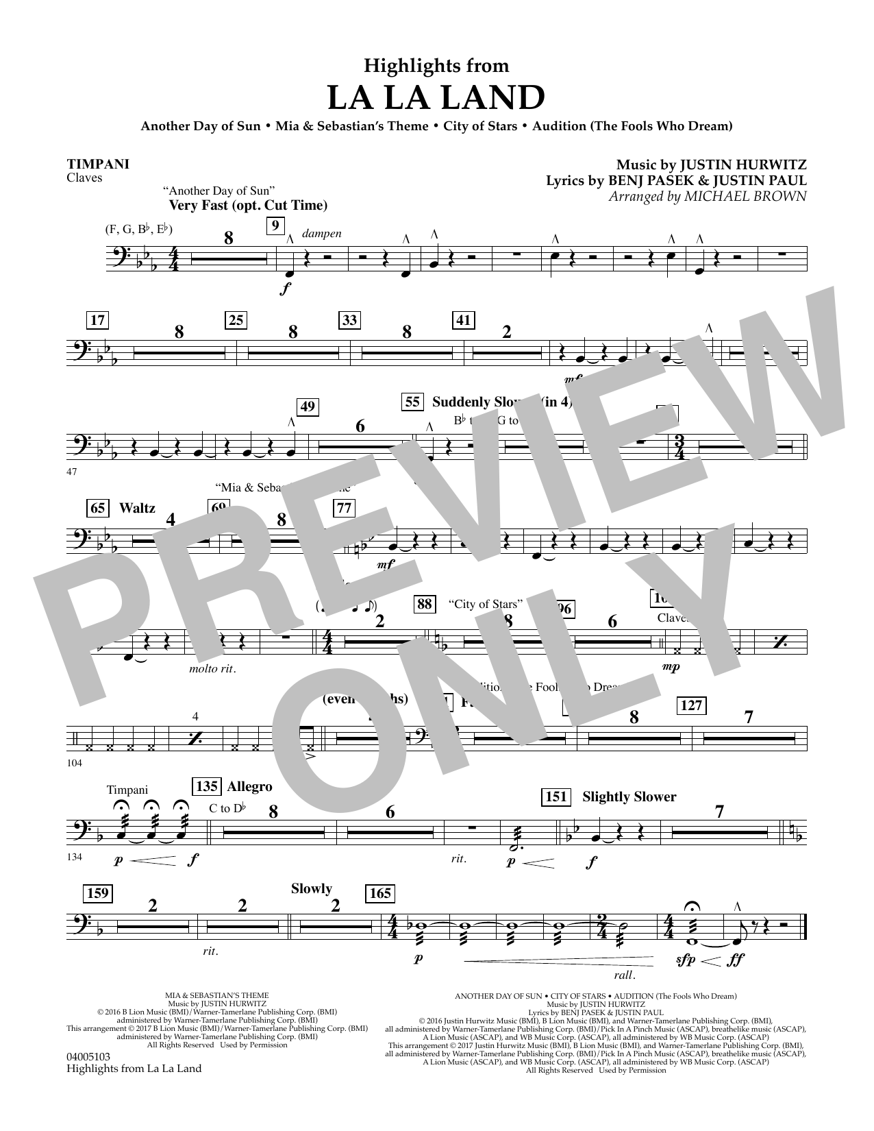 Highlights from La La Land - Timpani (Concert Band)