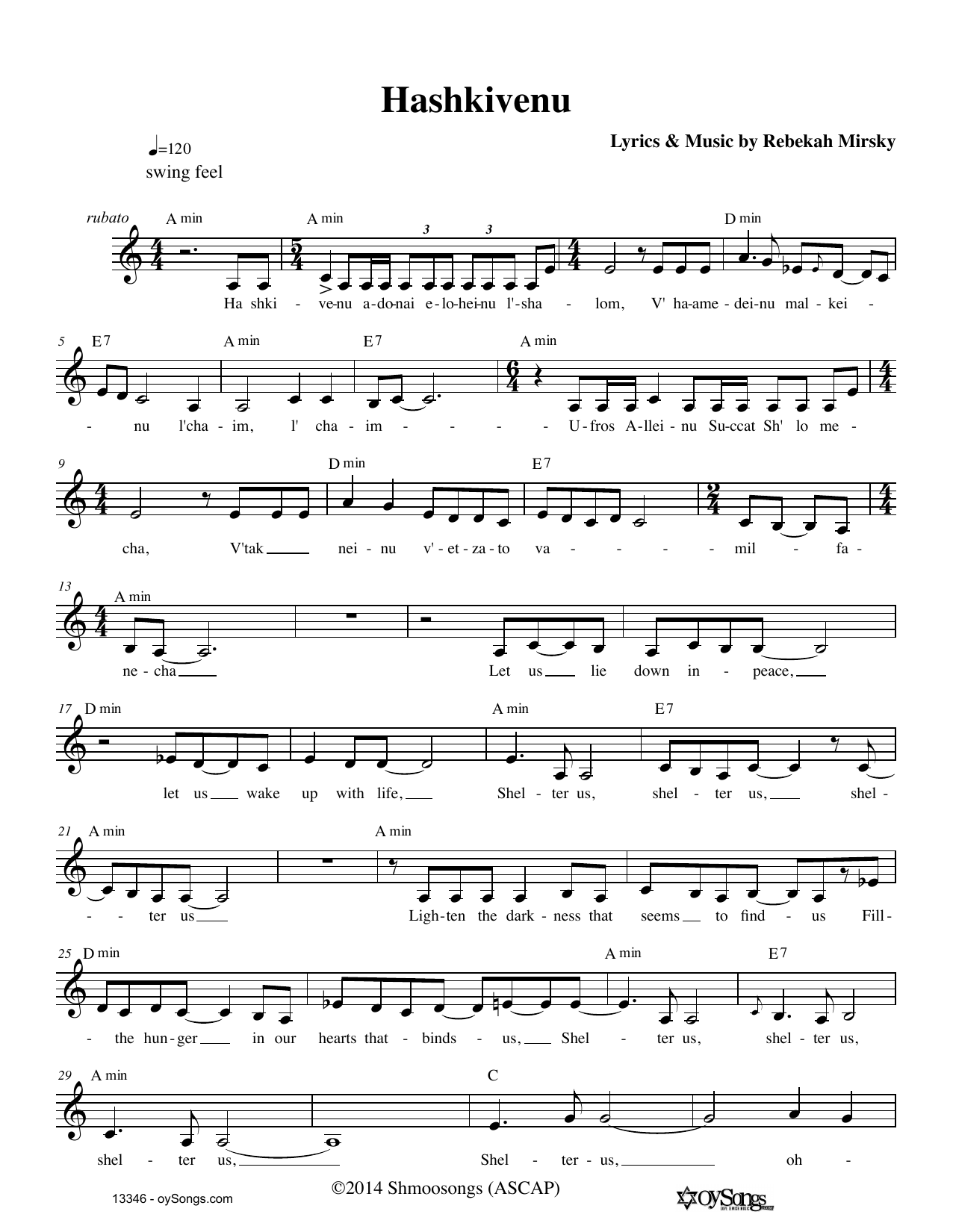 Hashkivenu Sheet Music