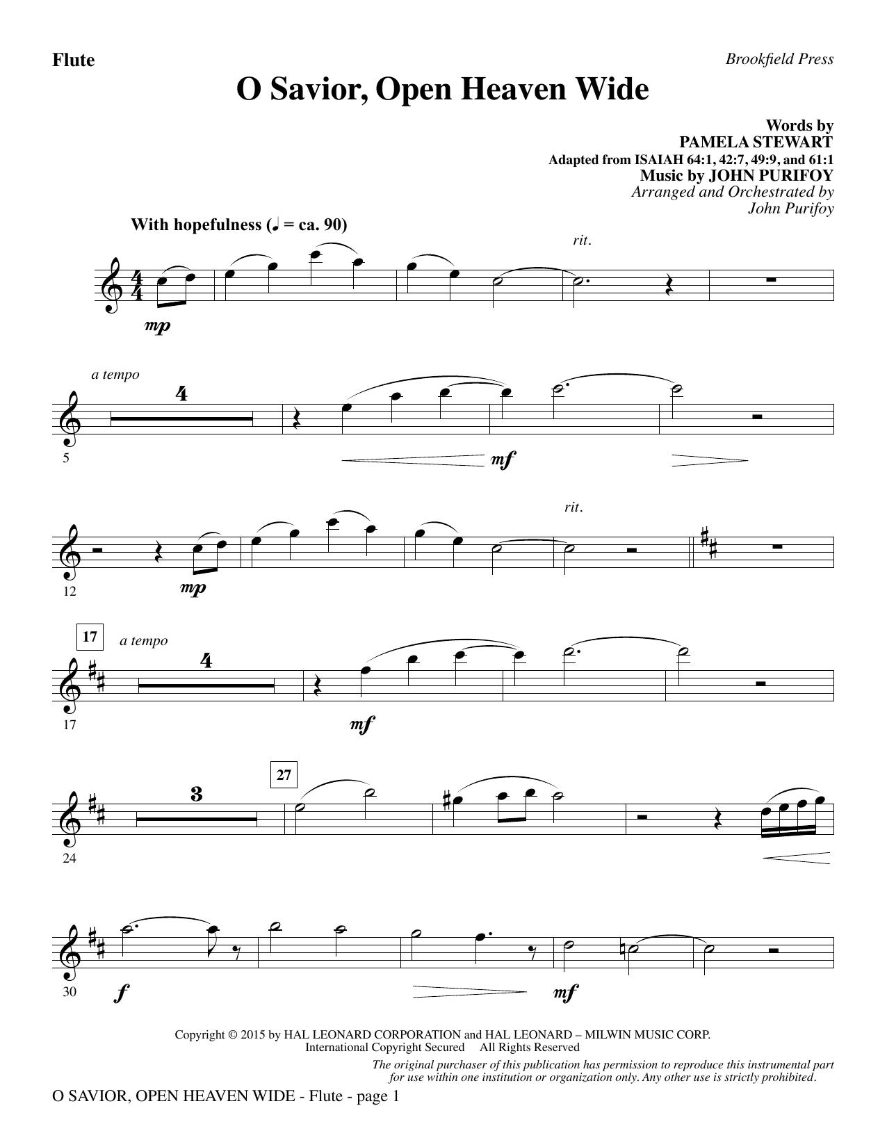 O Savior, Open Heaven Wide - Flute (Choir Instrumental Pak)