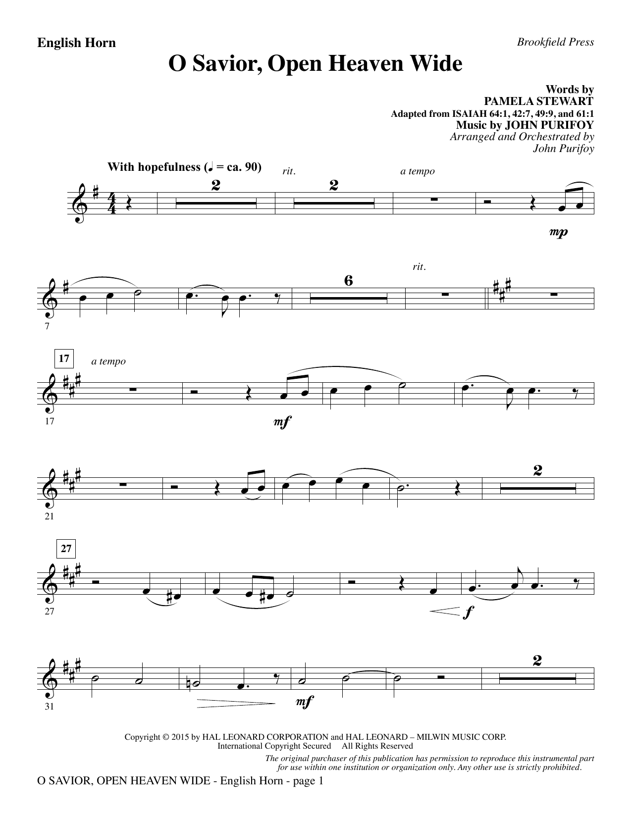 O Savior, Open Heaven Wide - English Horn (Choir Instrumental Pak)