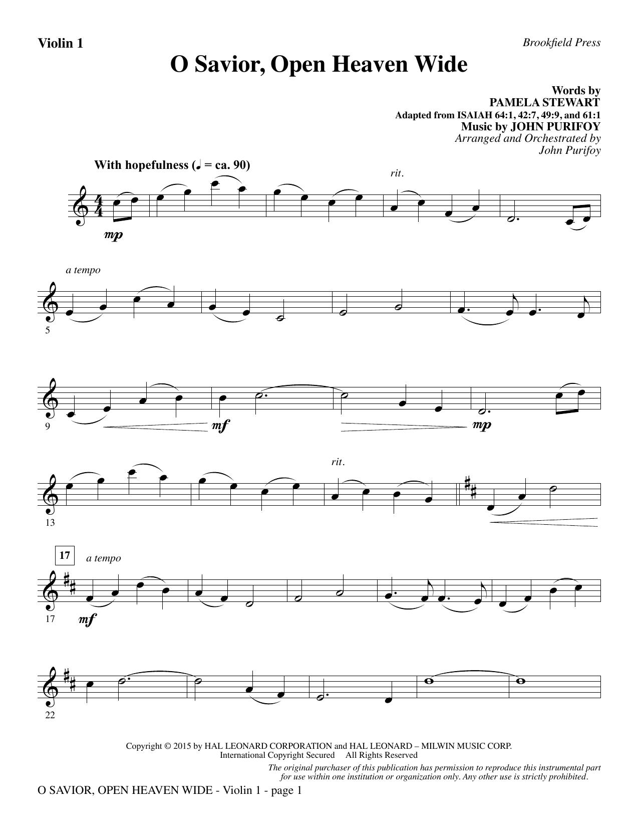 O Savior, Open Heaven Wide - Violin 1 (Choir Instrumental Pak)