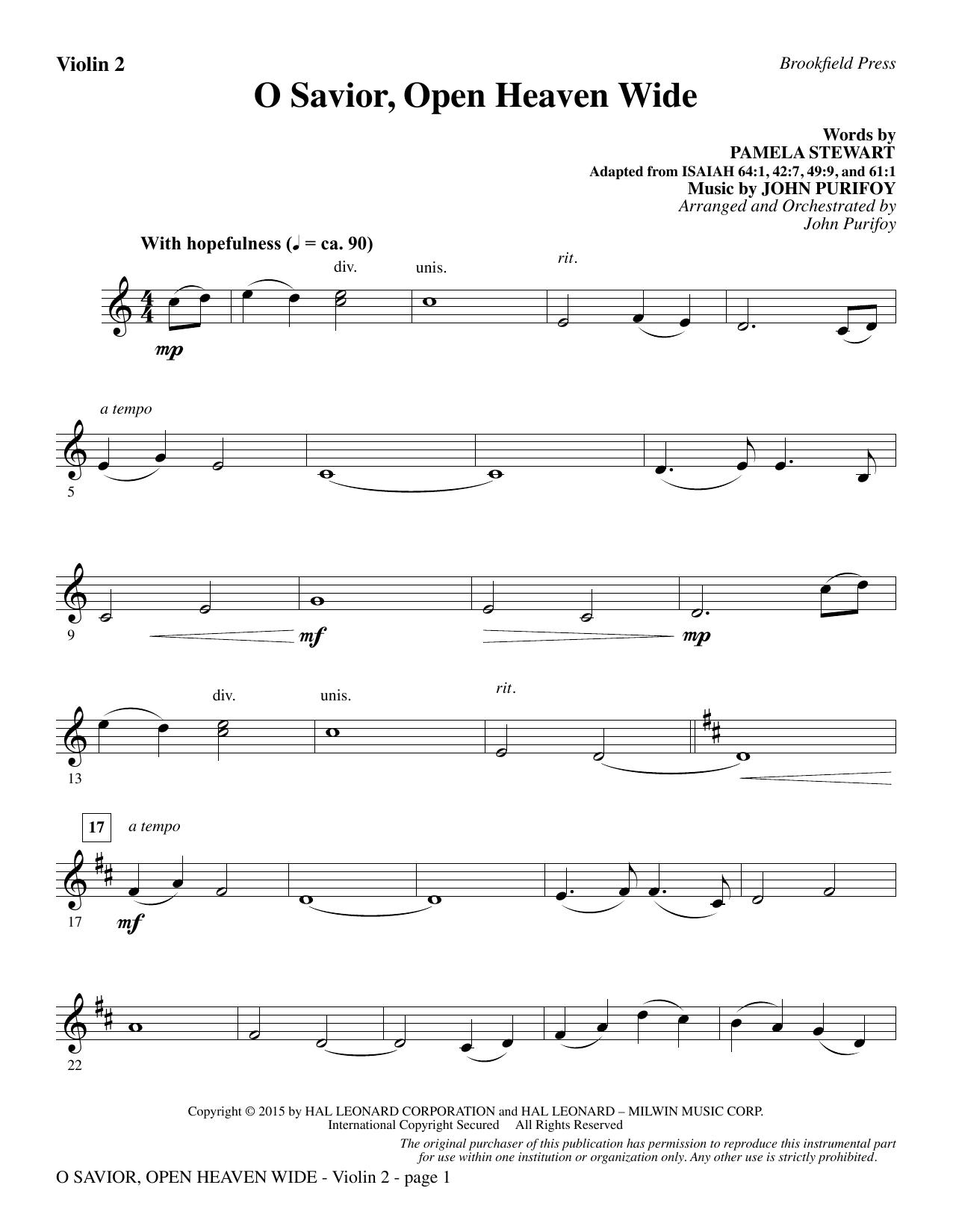 O Savior, Open Heaven Wide - Violin 2 (Choir Instrumental Pak)