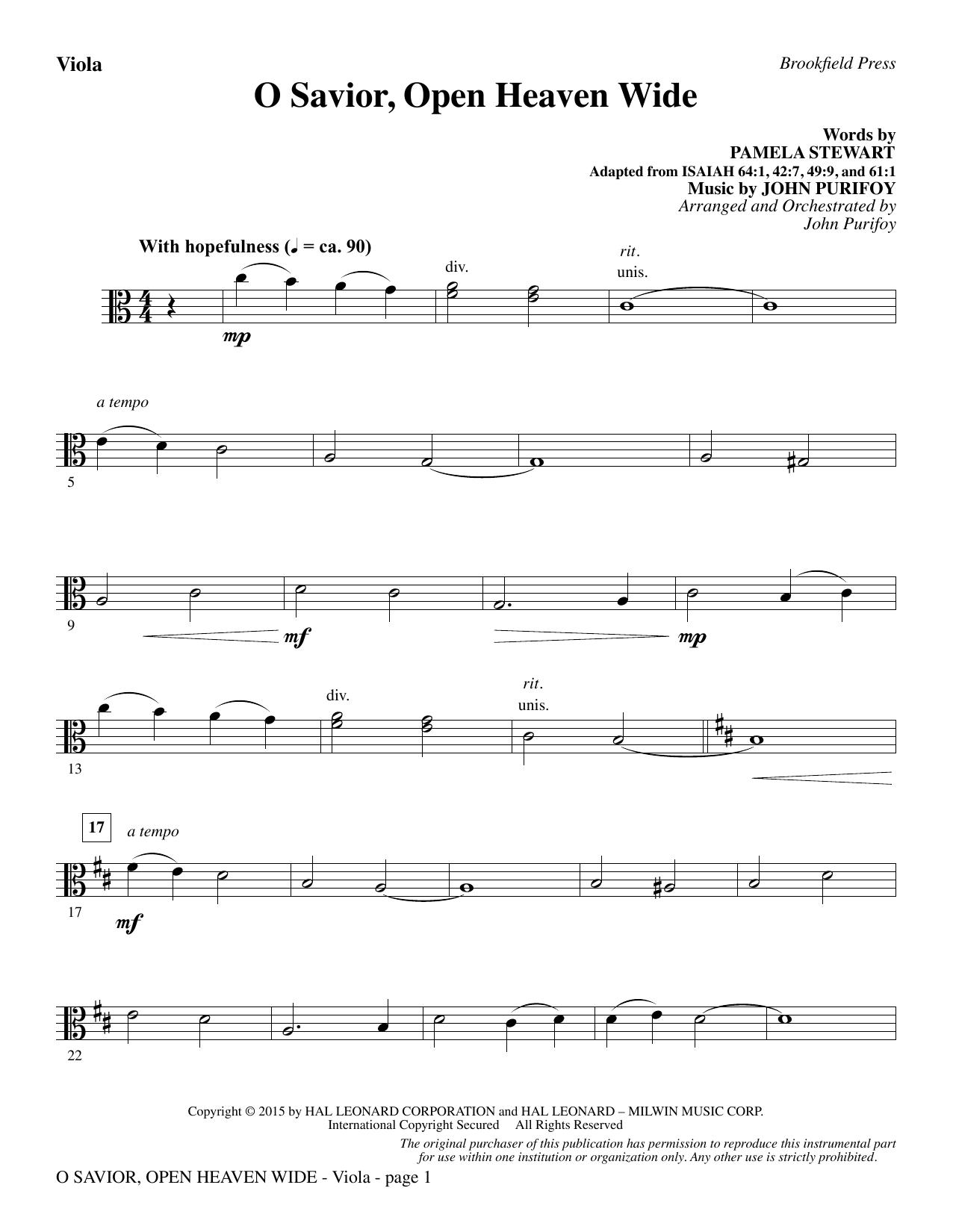 O Savior, Open Heaven Wide - Viola (Choir Instrumental Pak)