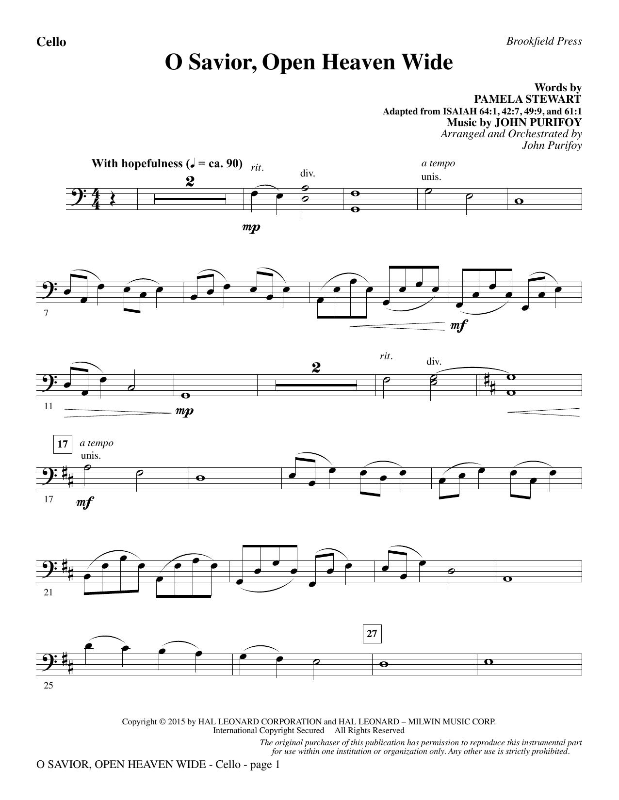 O Savior, Open Heaven Wide - Cello (Choir Instrumental Pak)