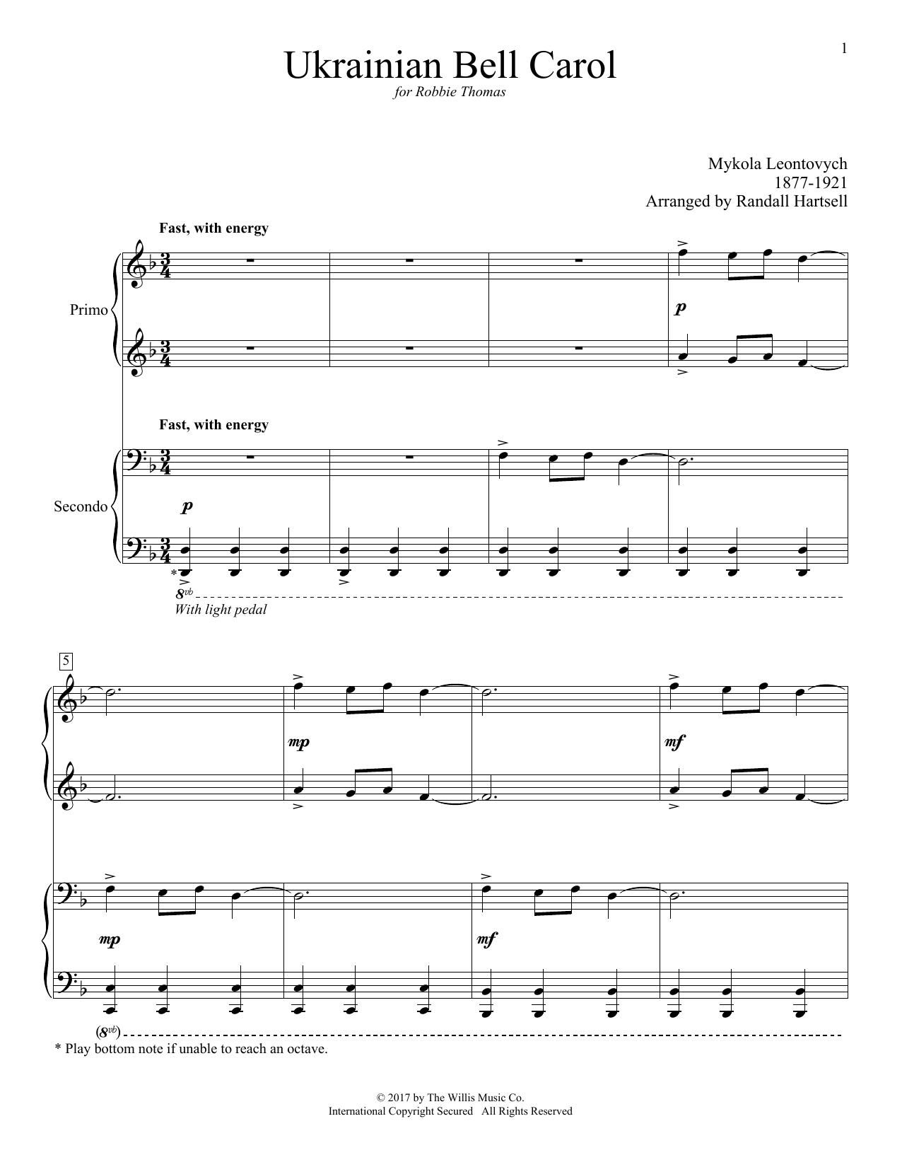 Ukrainian Bell Carol (Piano Duet)