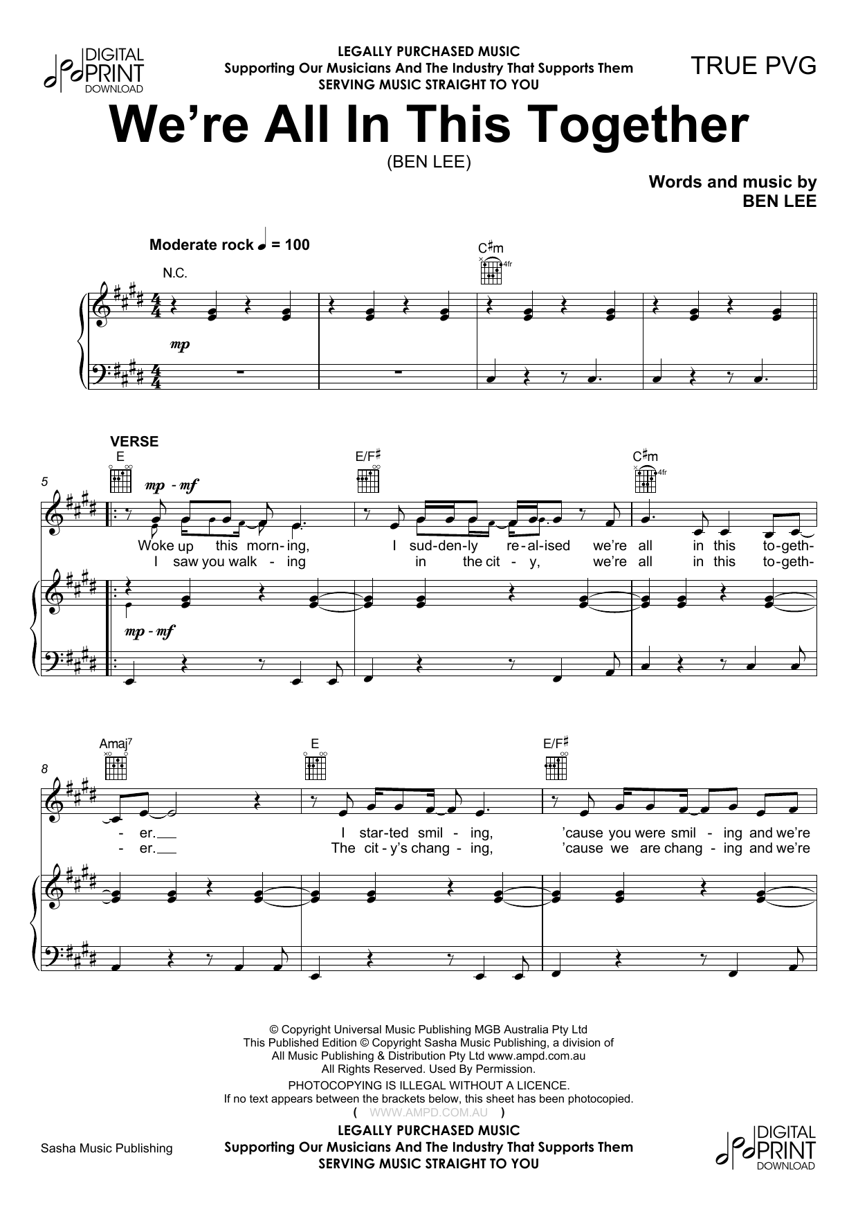 We're All in This Together (Piano, Vocal & Guitar (Right-Hand Melody))