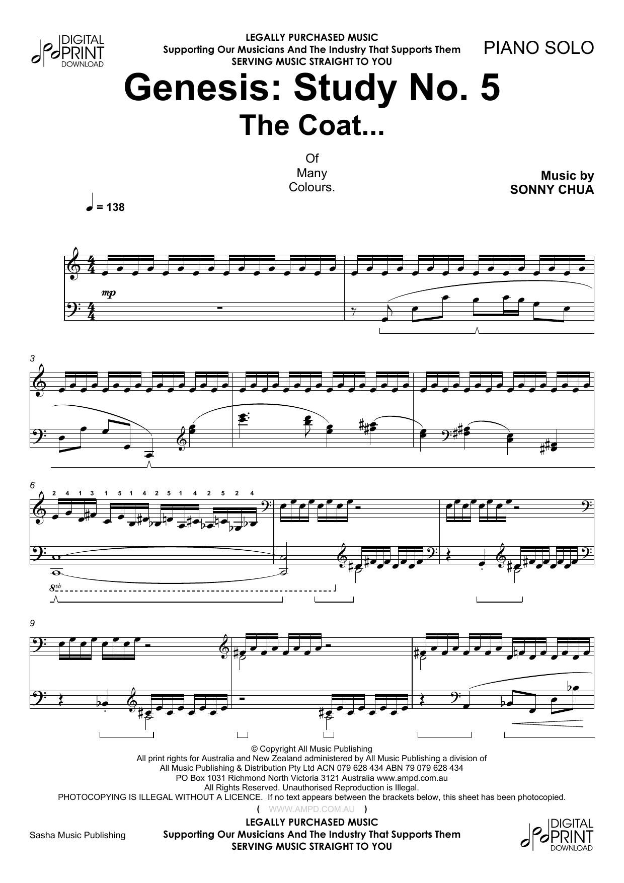 Genesis Study No 5 The Coat Sheet Music