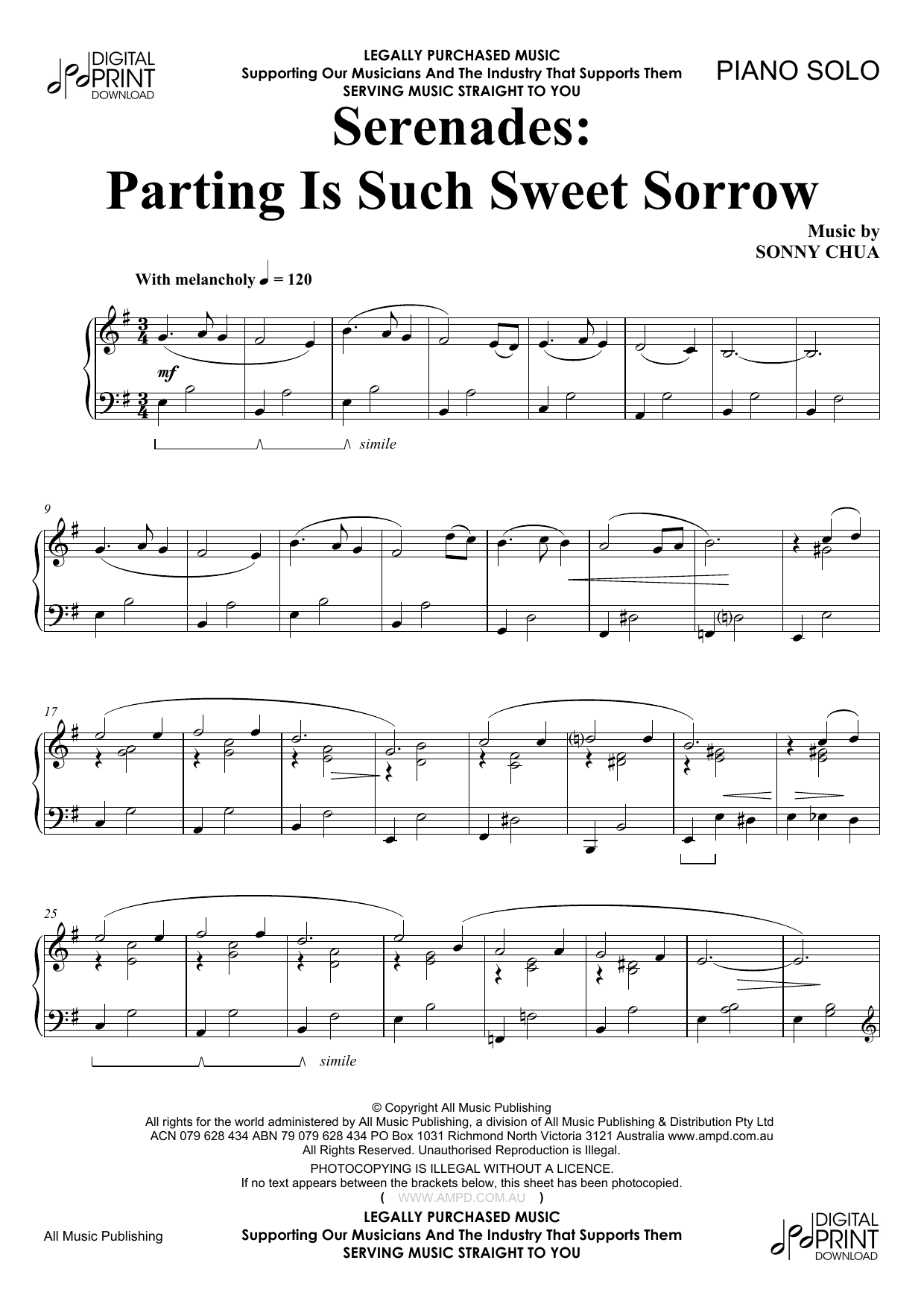 Serenades Parting Is Such Sweet Sorrow Sheet Music