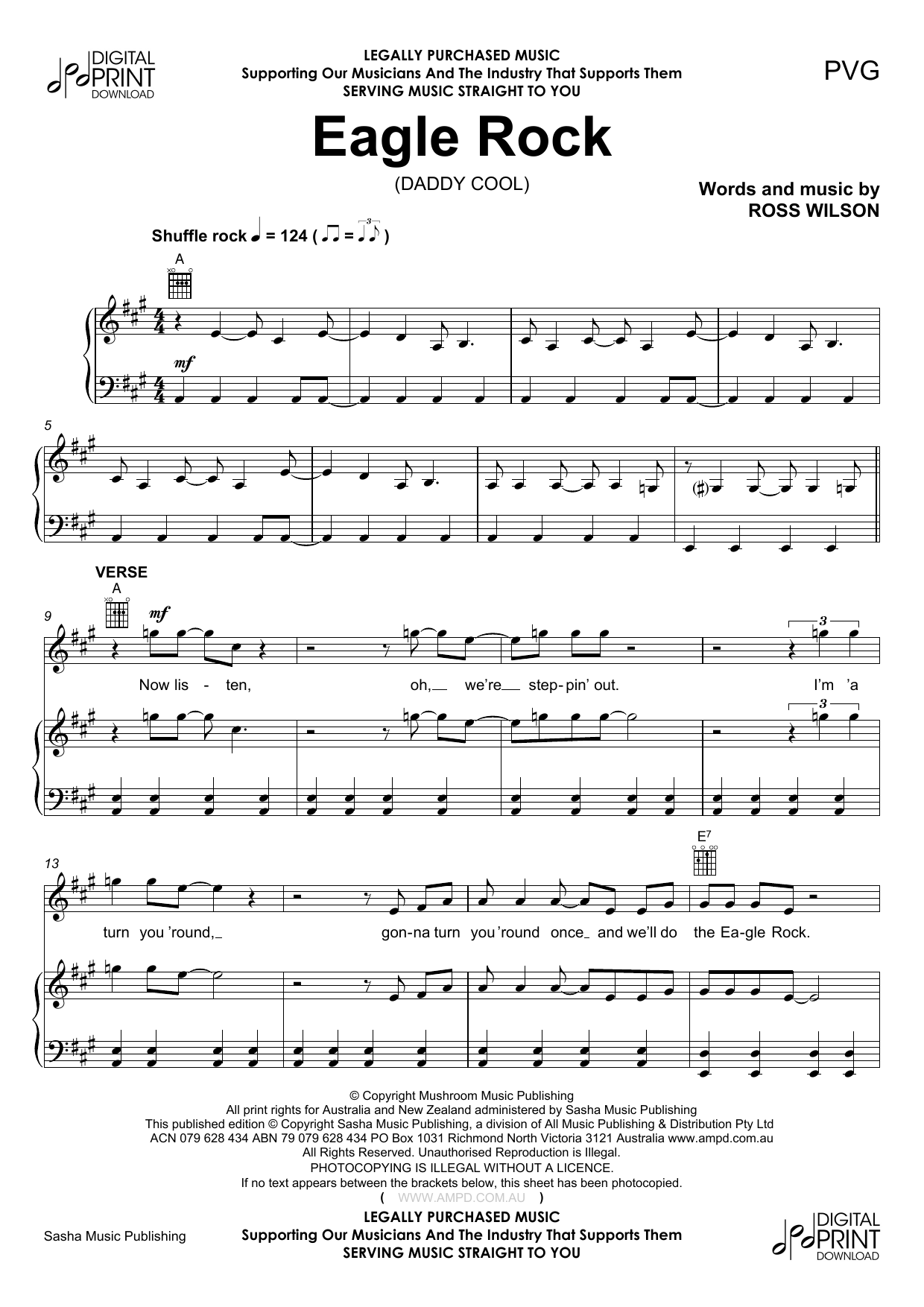 Eagle Rock (Piano, Vocal & Guitar (Right-Hand Melody))