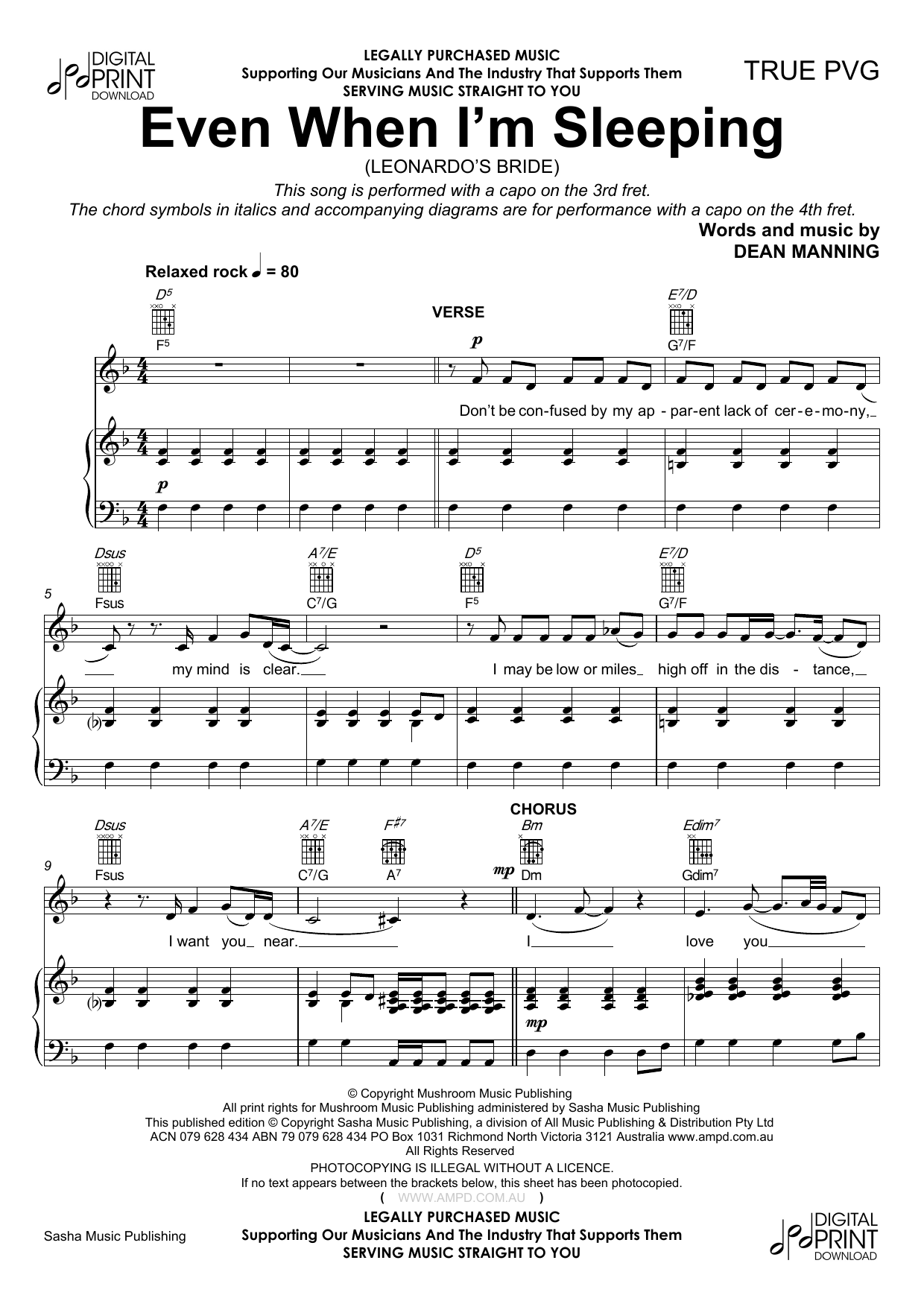 Even When Im Sleeping Sheet Music Leonardos Bride Piano Vocal
