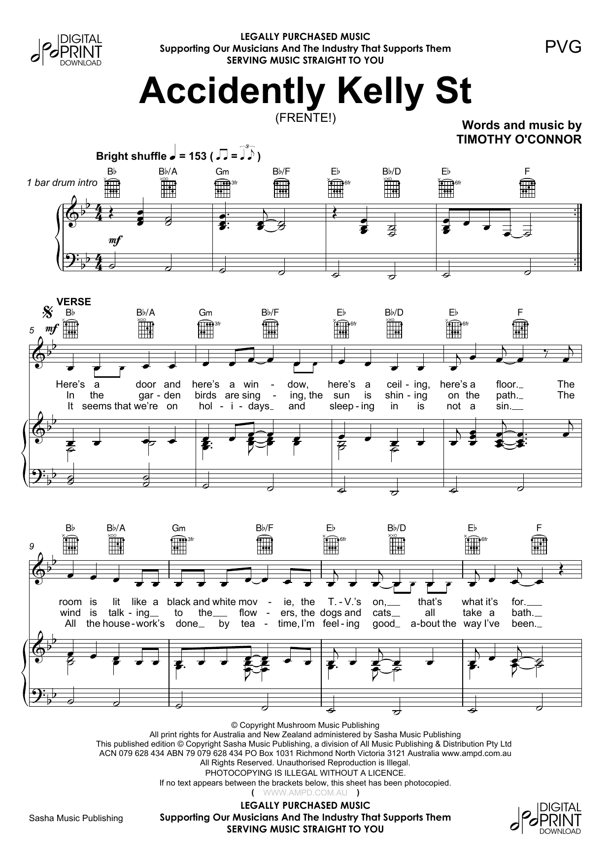 Accidently Kelly St Sheet Music