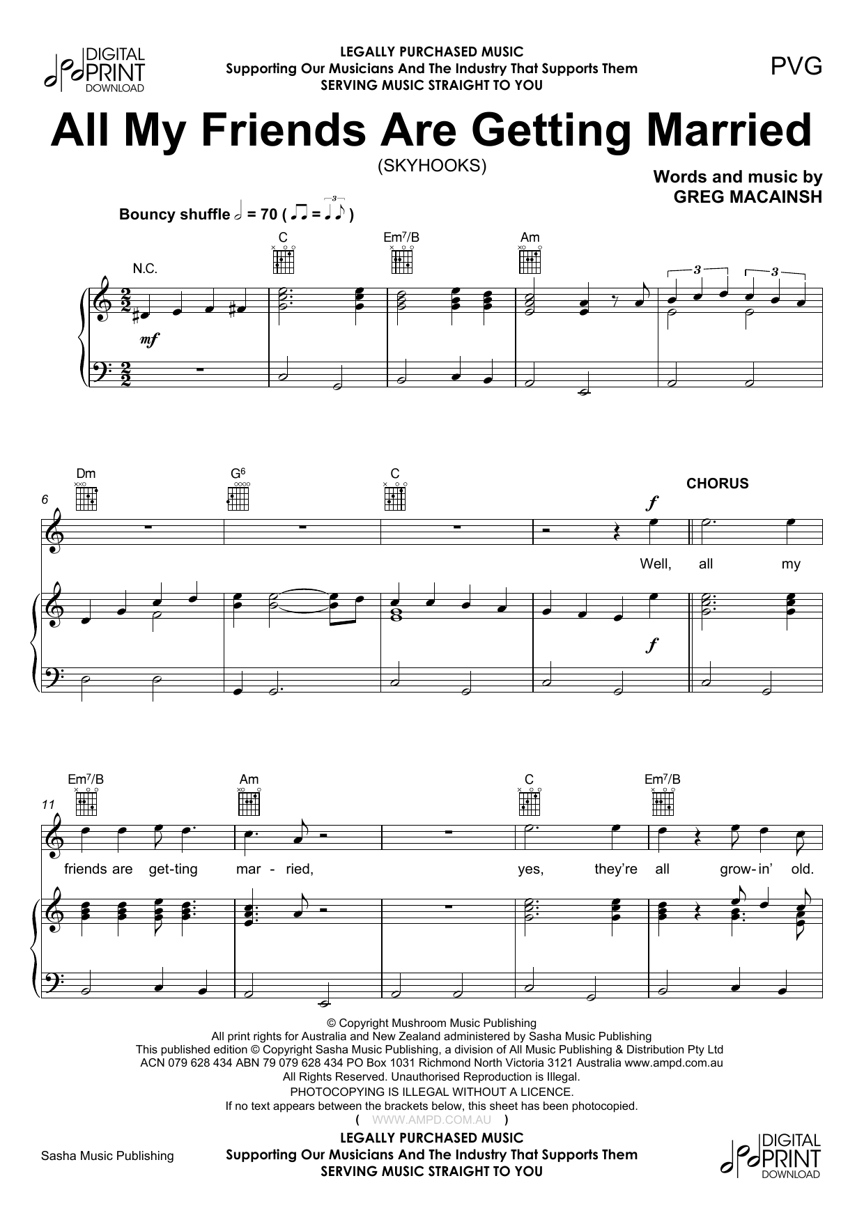 All My Friends Are Getting Married (Piano, Vocal & Guitar (Right-Hand Melody))