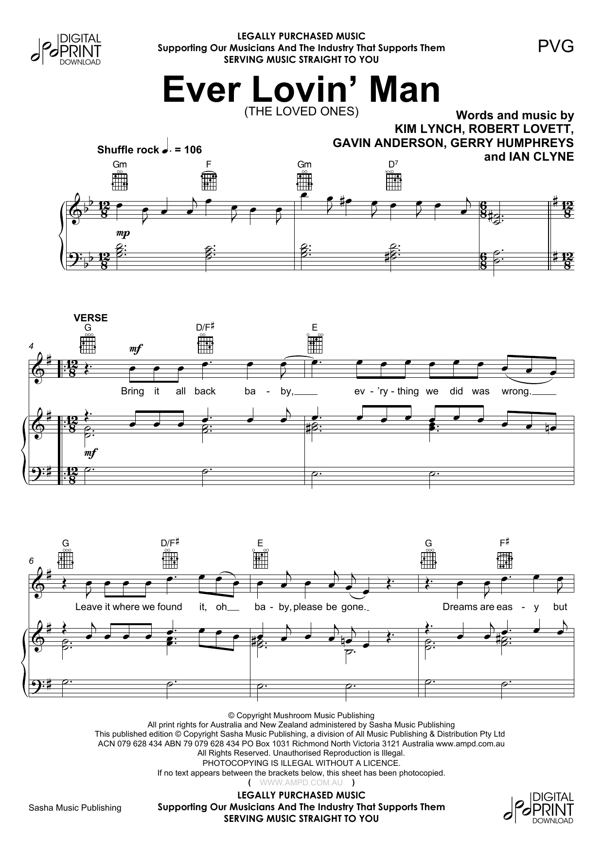 Ever Lovin Man (Piano, Vocal & Guitar (Right-Hand Melody))