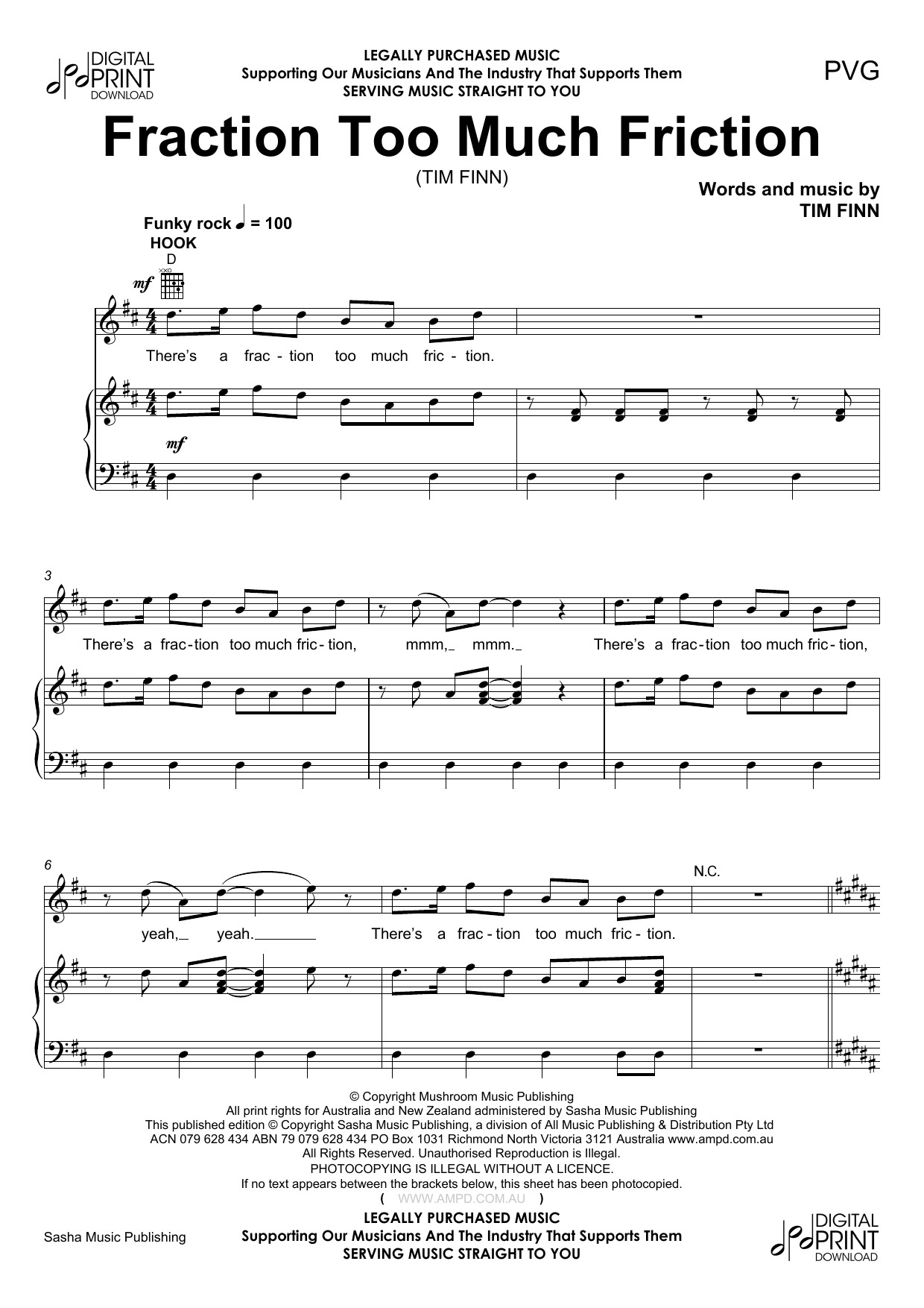Fraction To Much Friction (Piano, Vocal & Guitar (Right-Hand Melody))