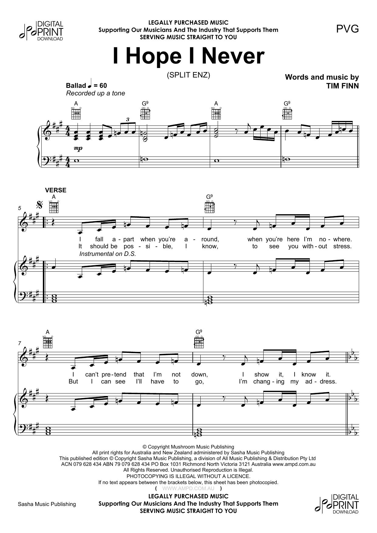 I Hope I Never (Piano, Vocal & Guitar (Right-Hand Melody))