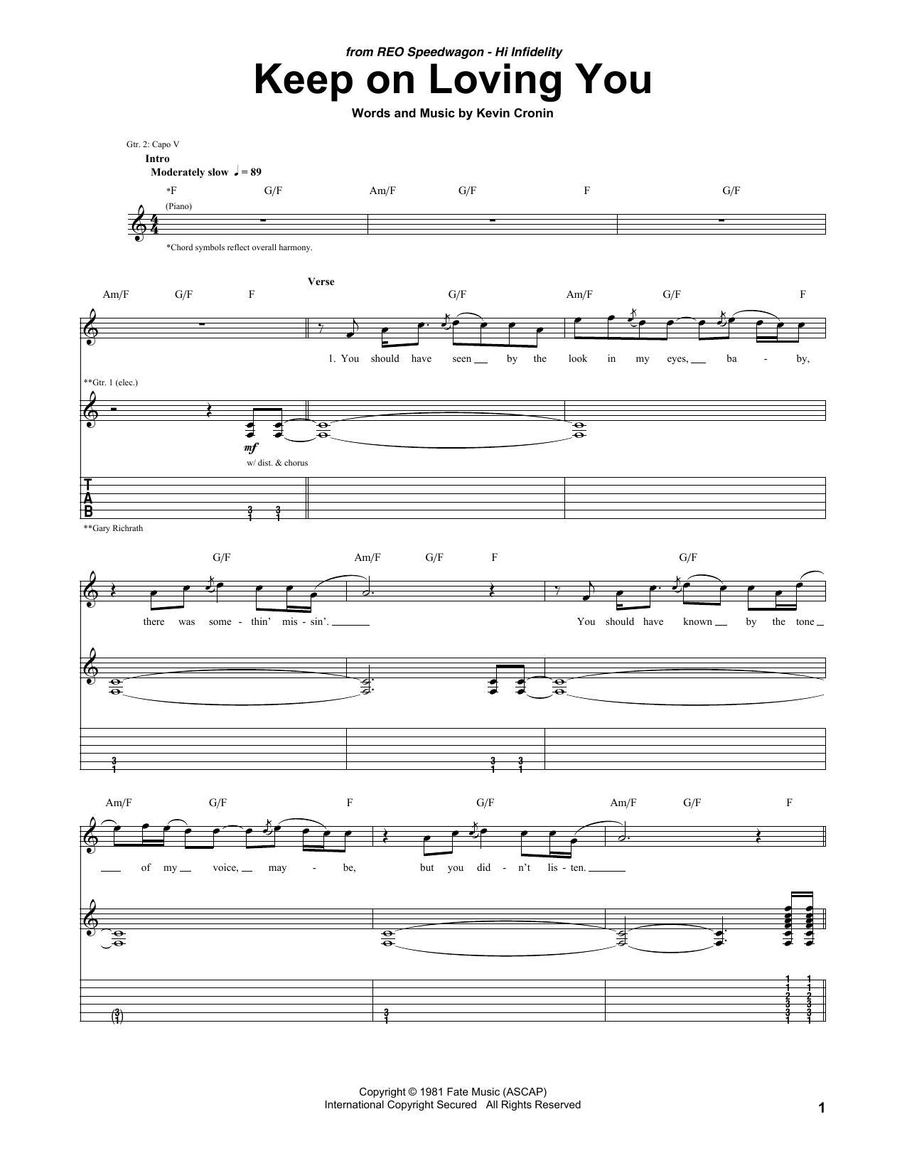 Keep On Loving You Sheet Music   REO Speedwagon   Guitar Tab