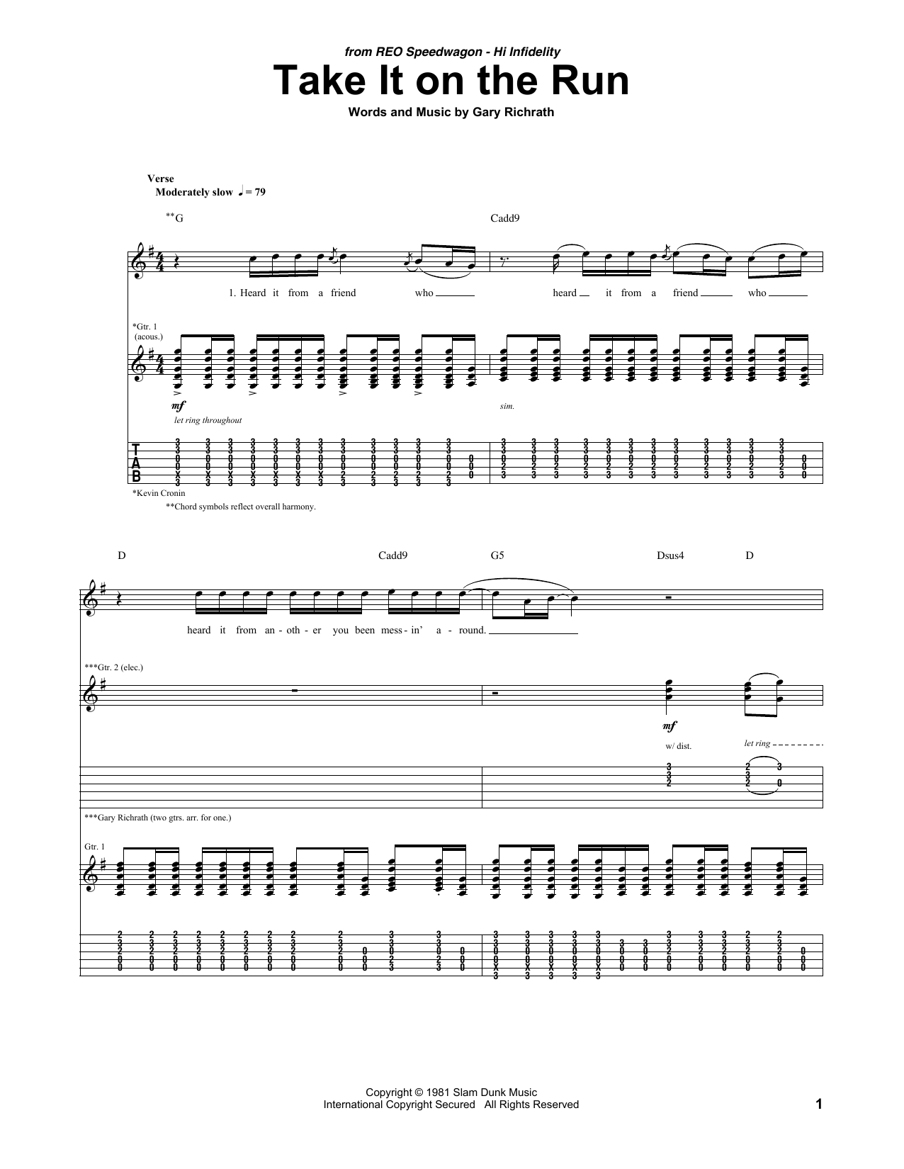 Take It On The Run (Guitar Tab)