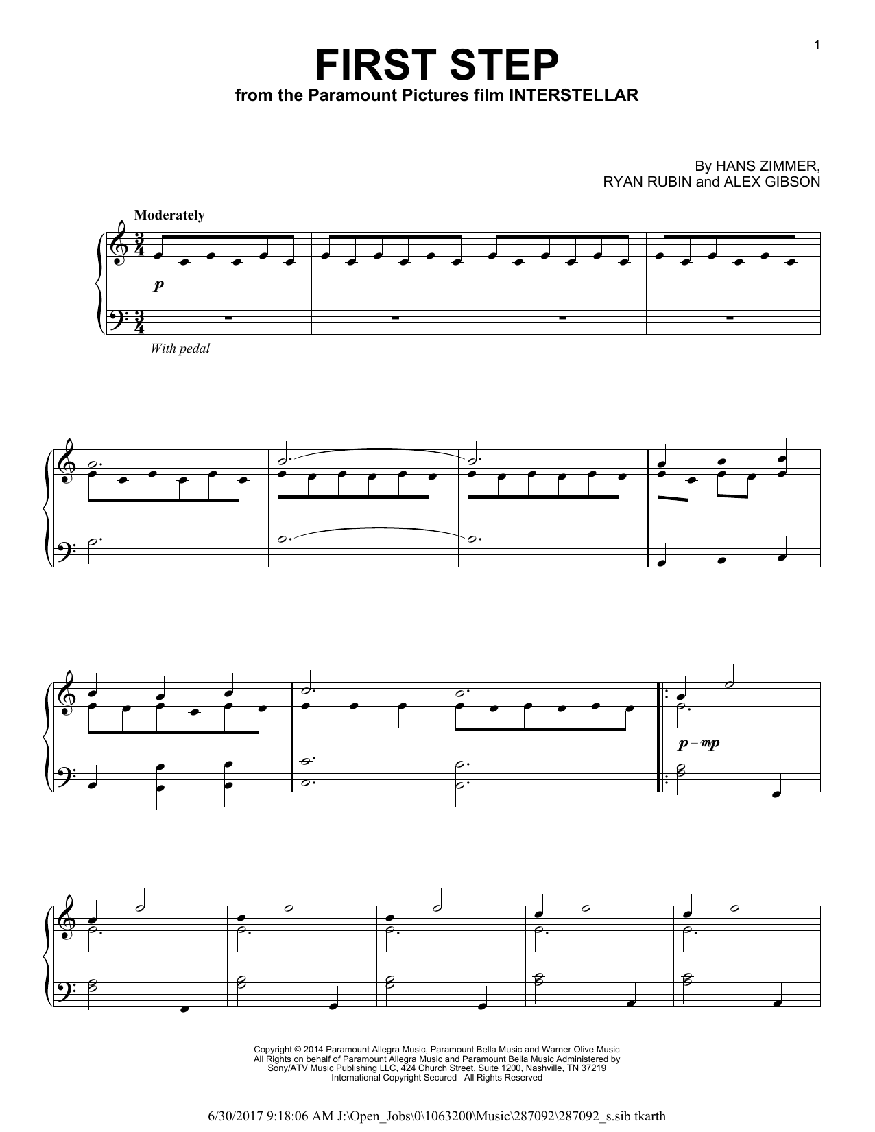 First Step (from Interstellar) (Piano Solo)