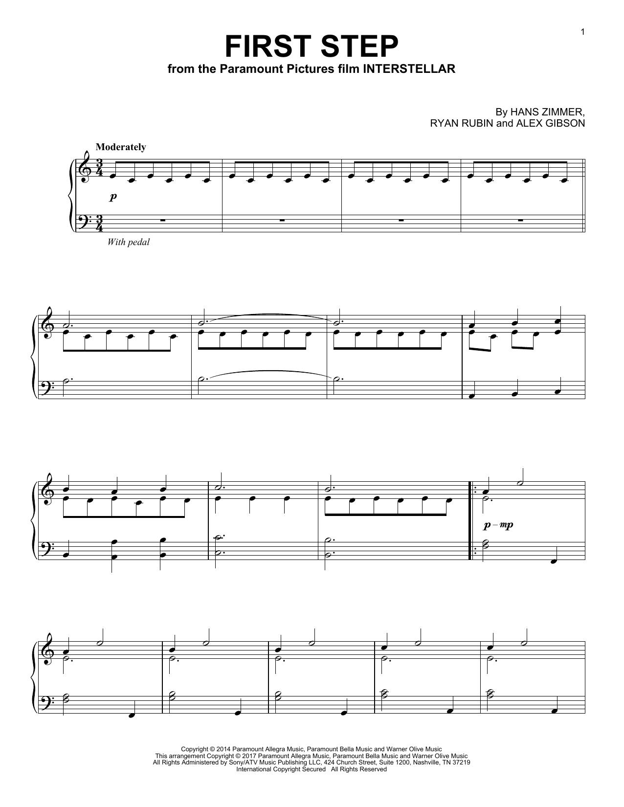 First Step To Success: First Step (from Interstellar) Sheet Music