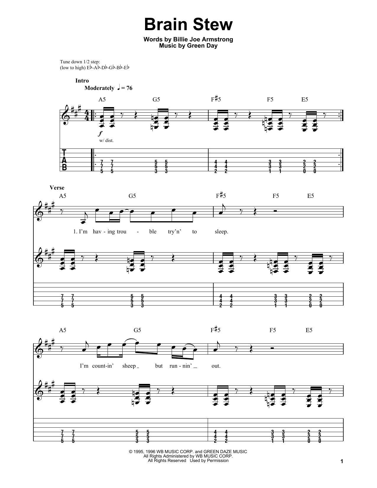 Brain Stew (Guitar Tab (Single Guitar))