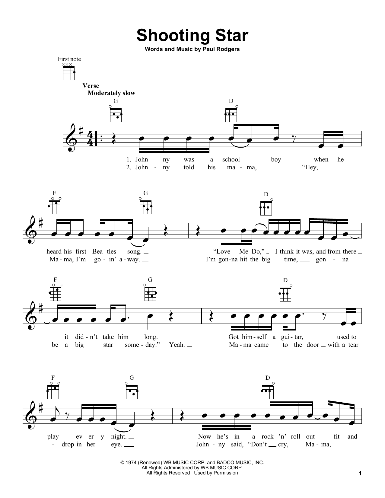 Sheet notation for twinkle twinkle little star with swing chords