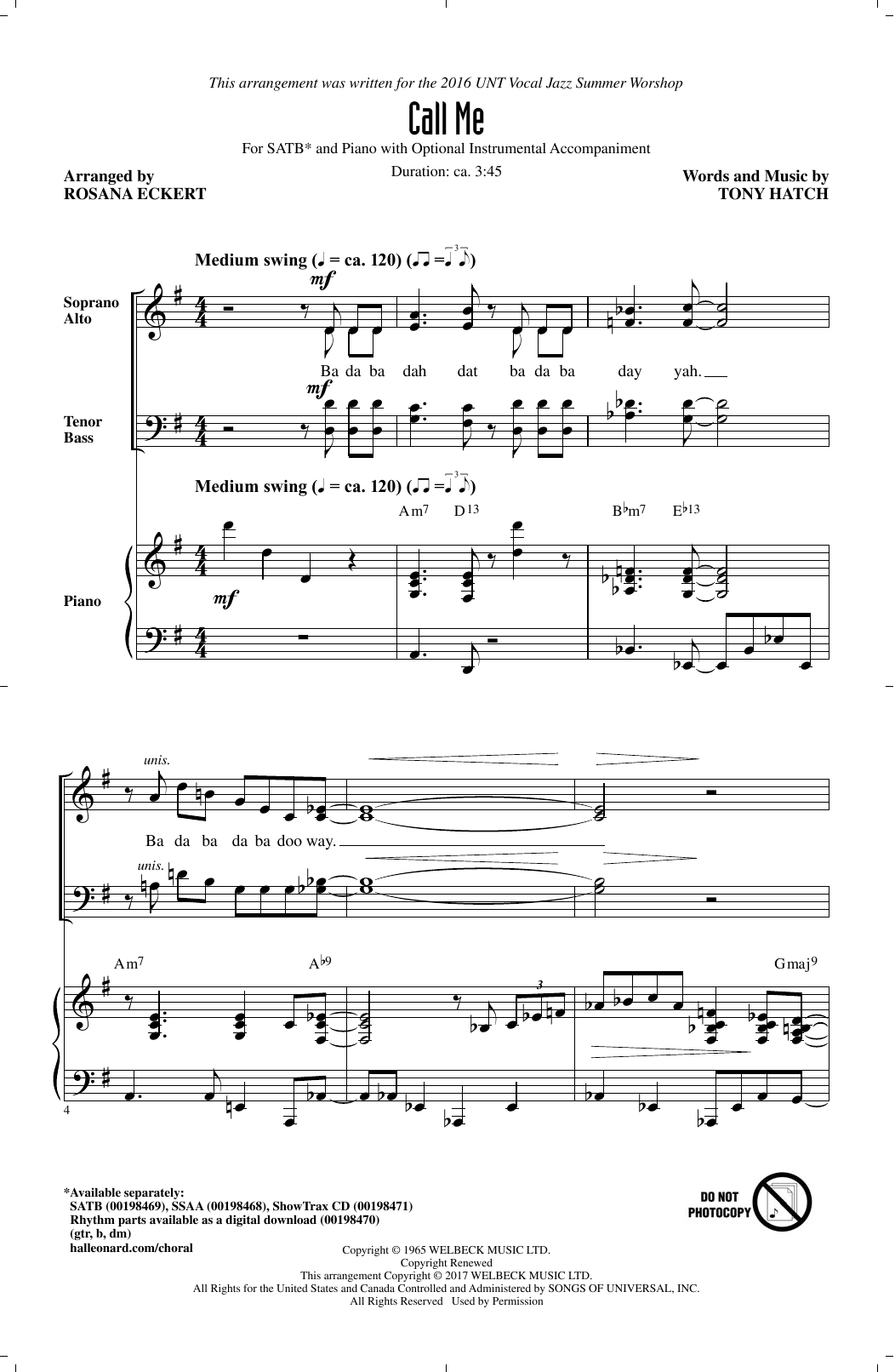 Call Me (arr. Rosana Eckert) (SATB Choir)