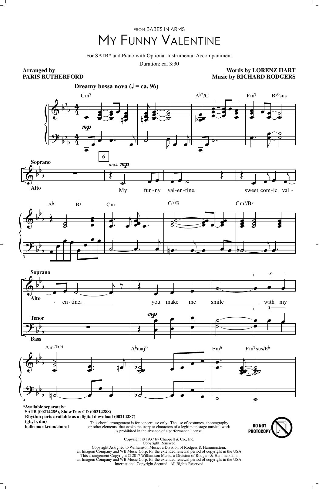My Funny Valentine (SATB Choir)