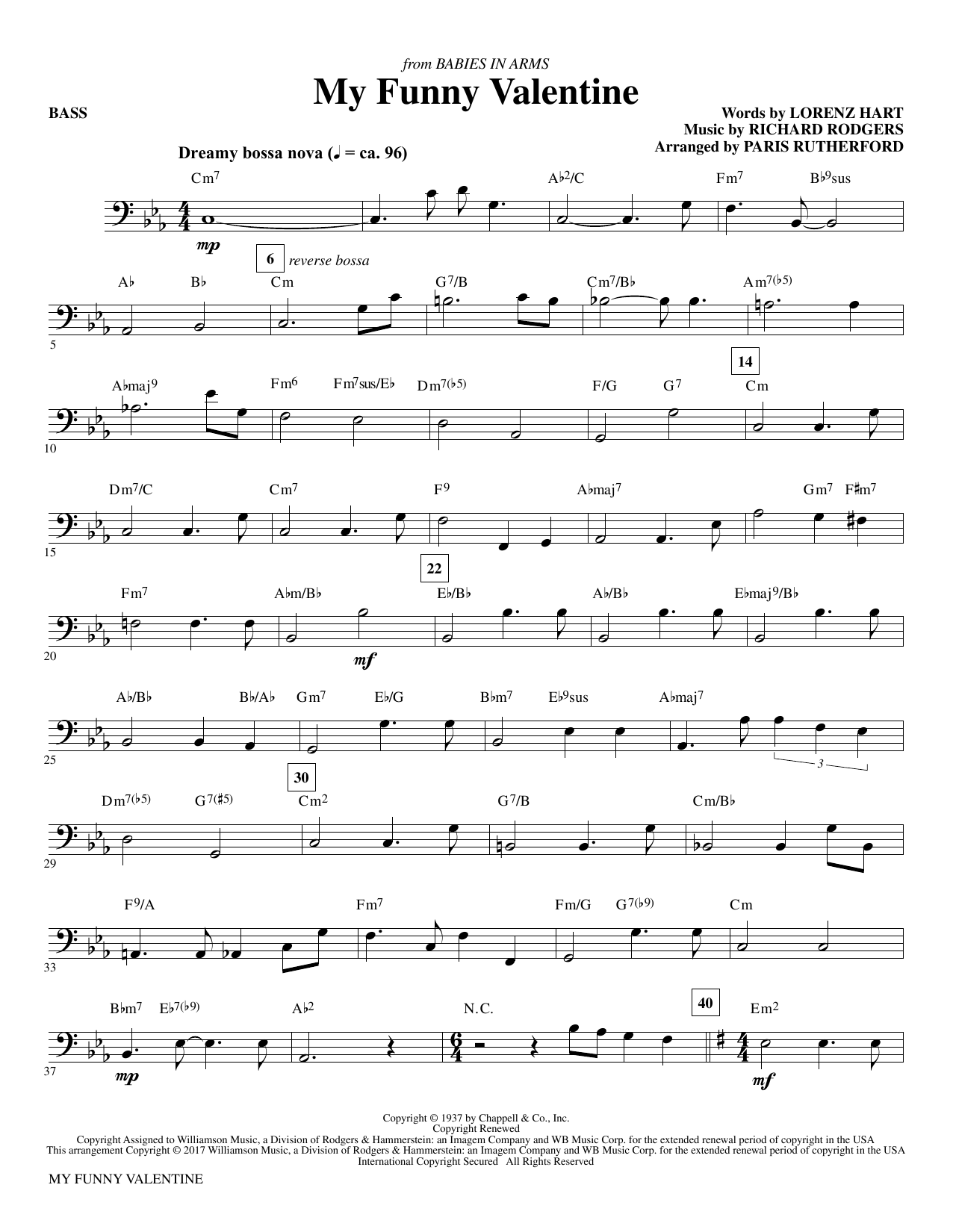 My Funny Valentine - Bass by Paris Rutherford Choir Instrumental Pak  Digital Sheet Music