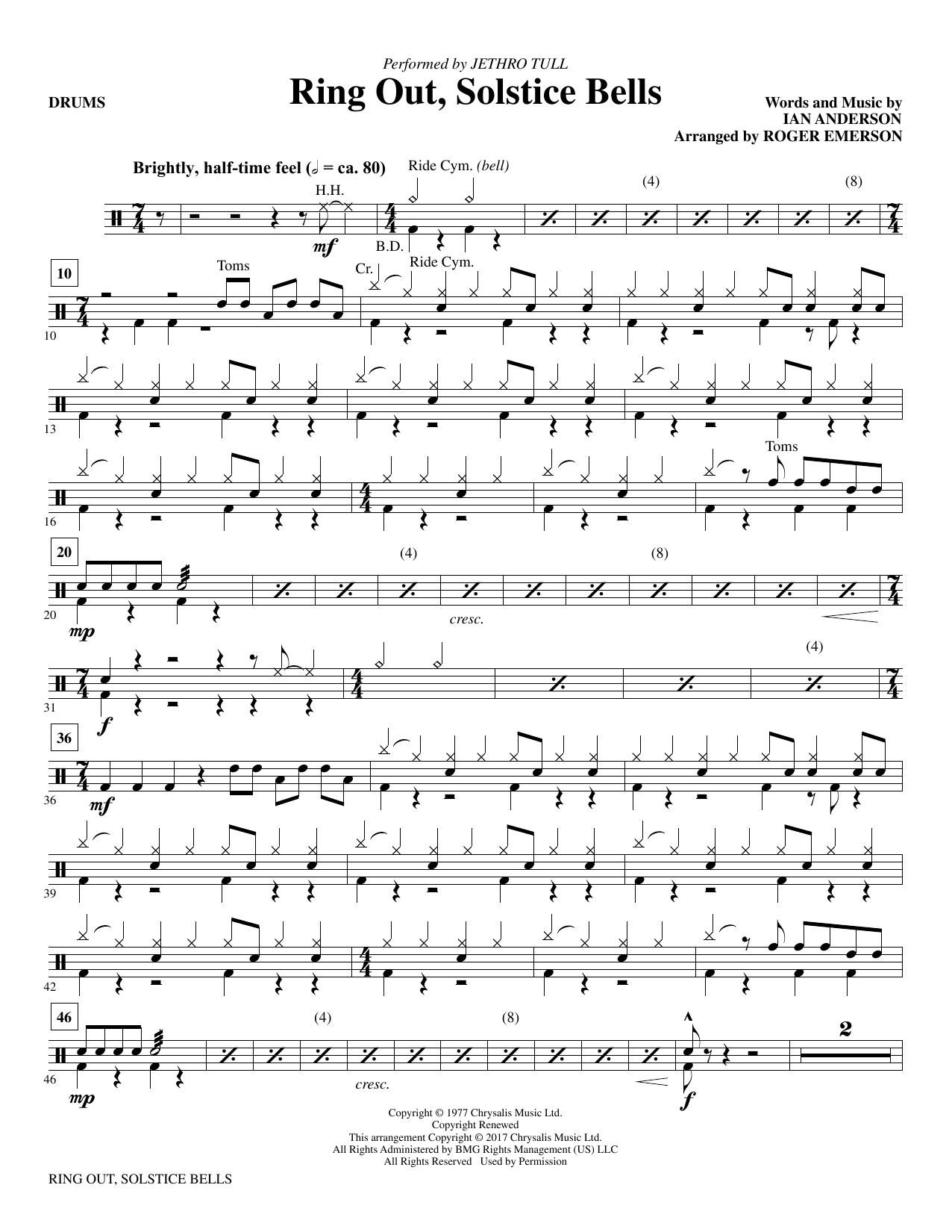Ring Out, Solstice Bells - Drums (Choir Instrumental Pak)