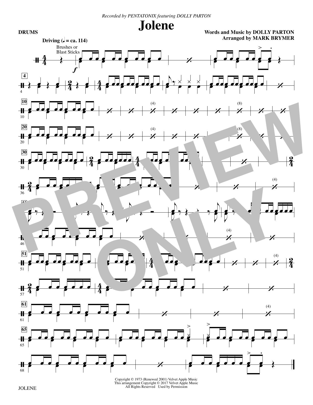 Jolene (feat. Dolly Parton) (arr. Mark Brymer) - Drums (Choir Instrumental Pak)