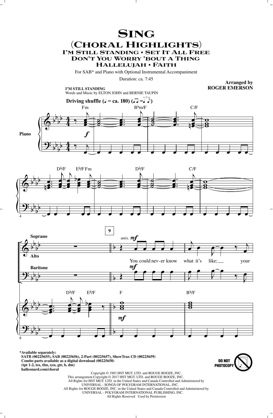 Sing (Choral Highlights) (SAB Choir)