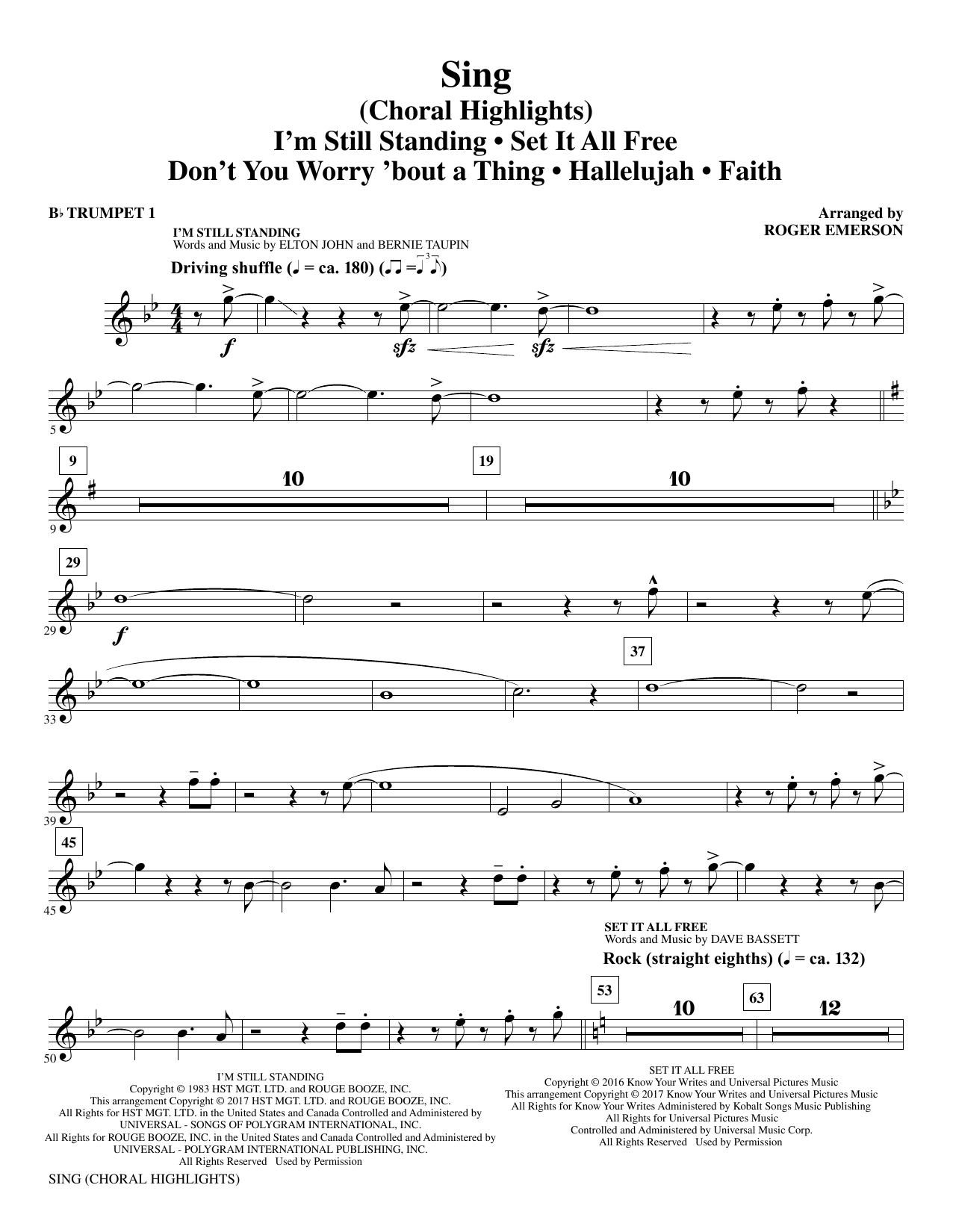 Sing (complete set of parts) sheet music for orchestra/band by Roger Emerson, Justin Timberlake & Matt Morris featuring Charlie Sexton and Leonard Cohen. Score Image Preview.